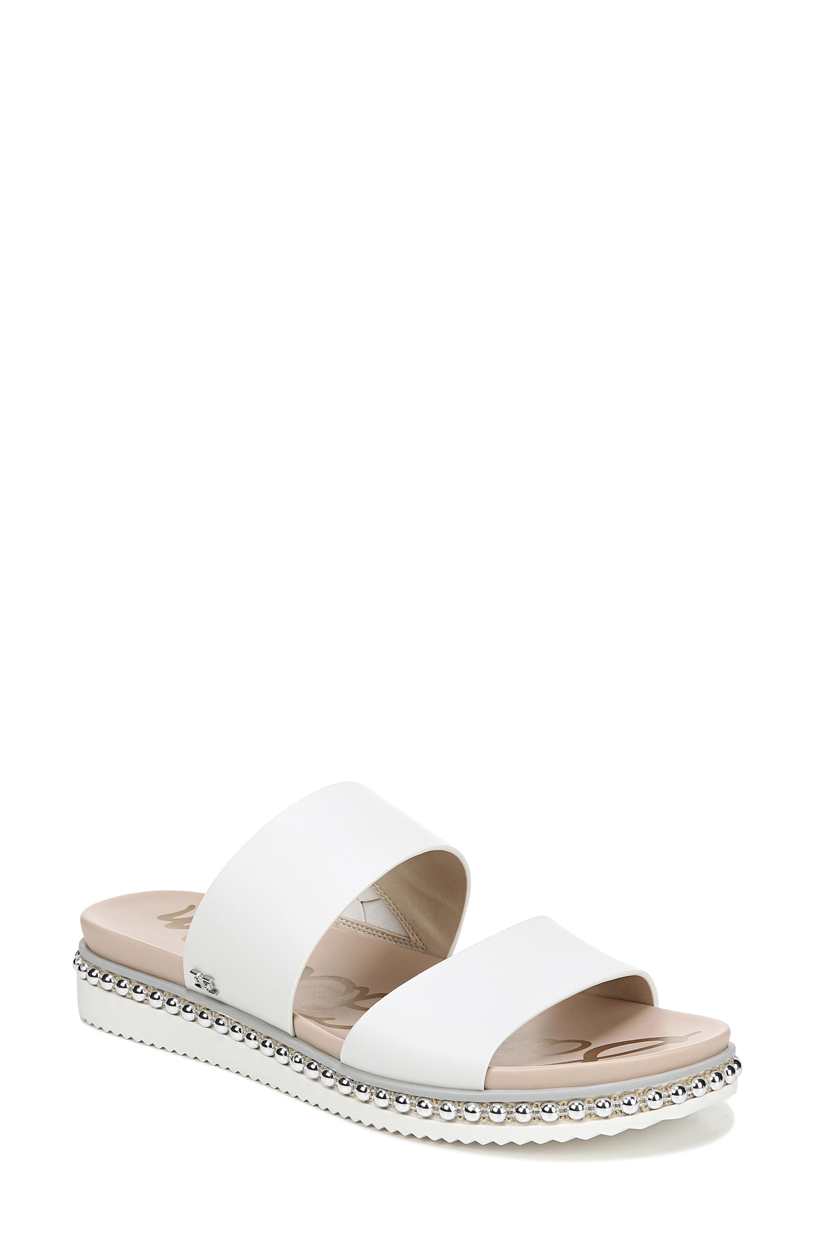 1d4574ef997fb9 Lyst - Sam Edelman Women s Asha Leather Slides - White - Size 7 ...