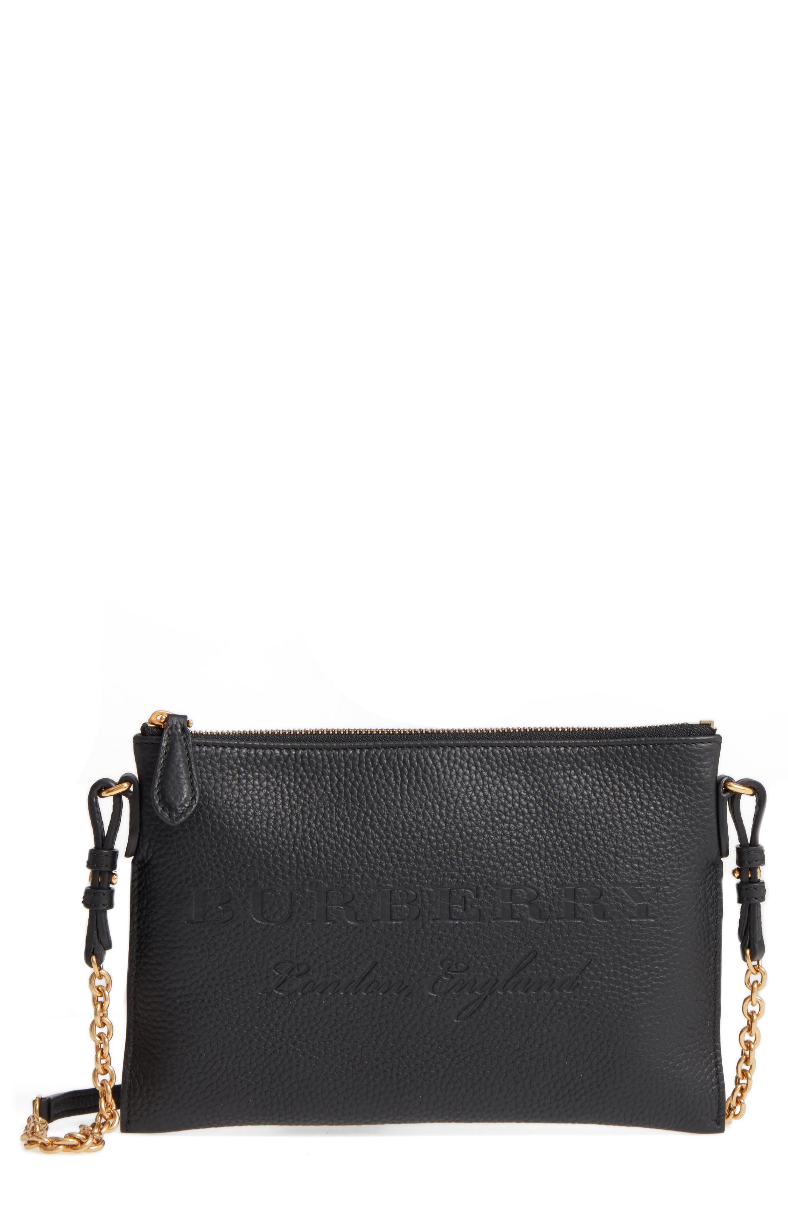 Lyst - Burberry Peyton Leather Crossbody Bag in Black 65c0bc0d2f