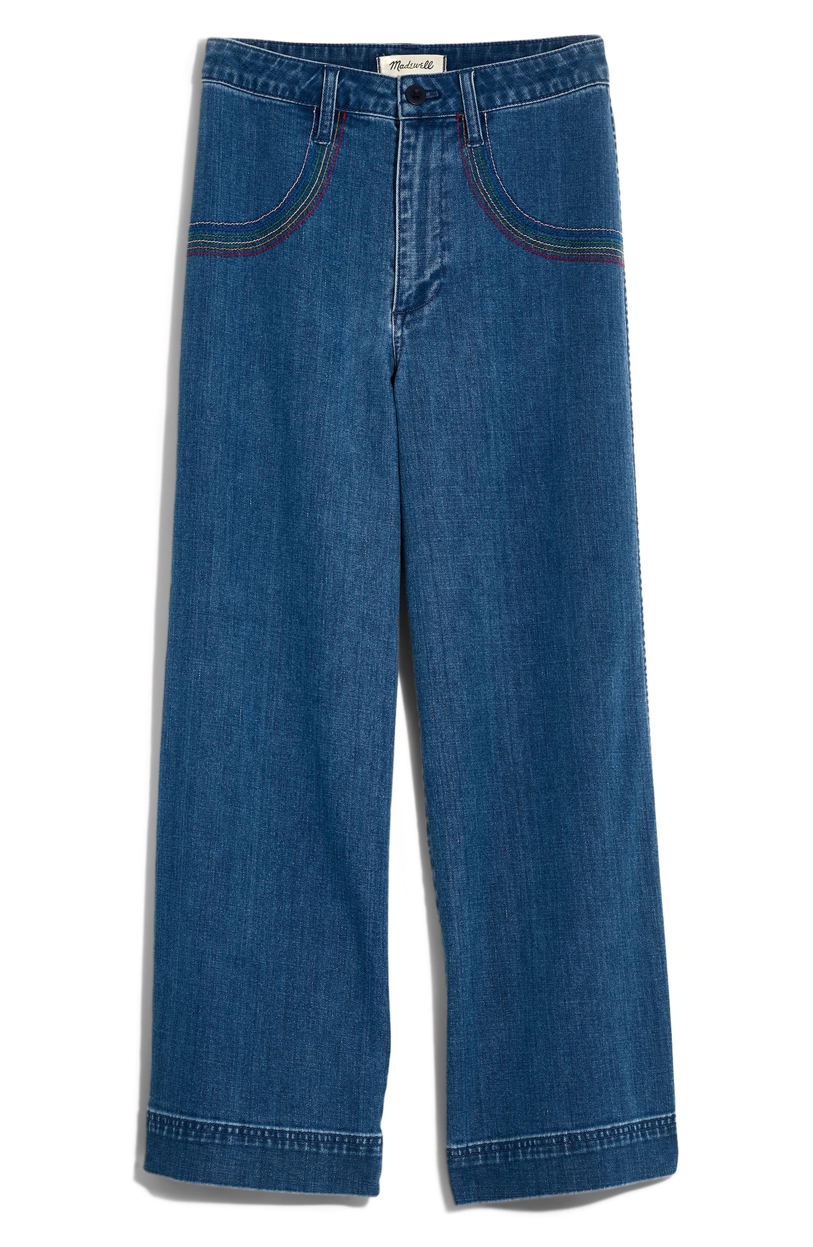 9f7267309 ... Rainbow Stitched Emmett Wide Leg Crop Jeans - Lyst. View fullscreen