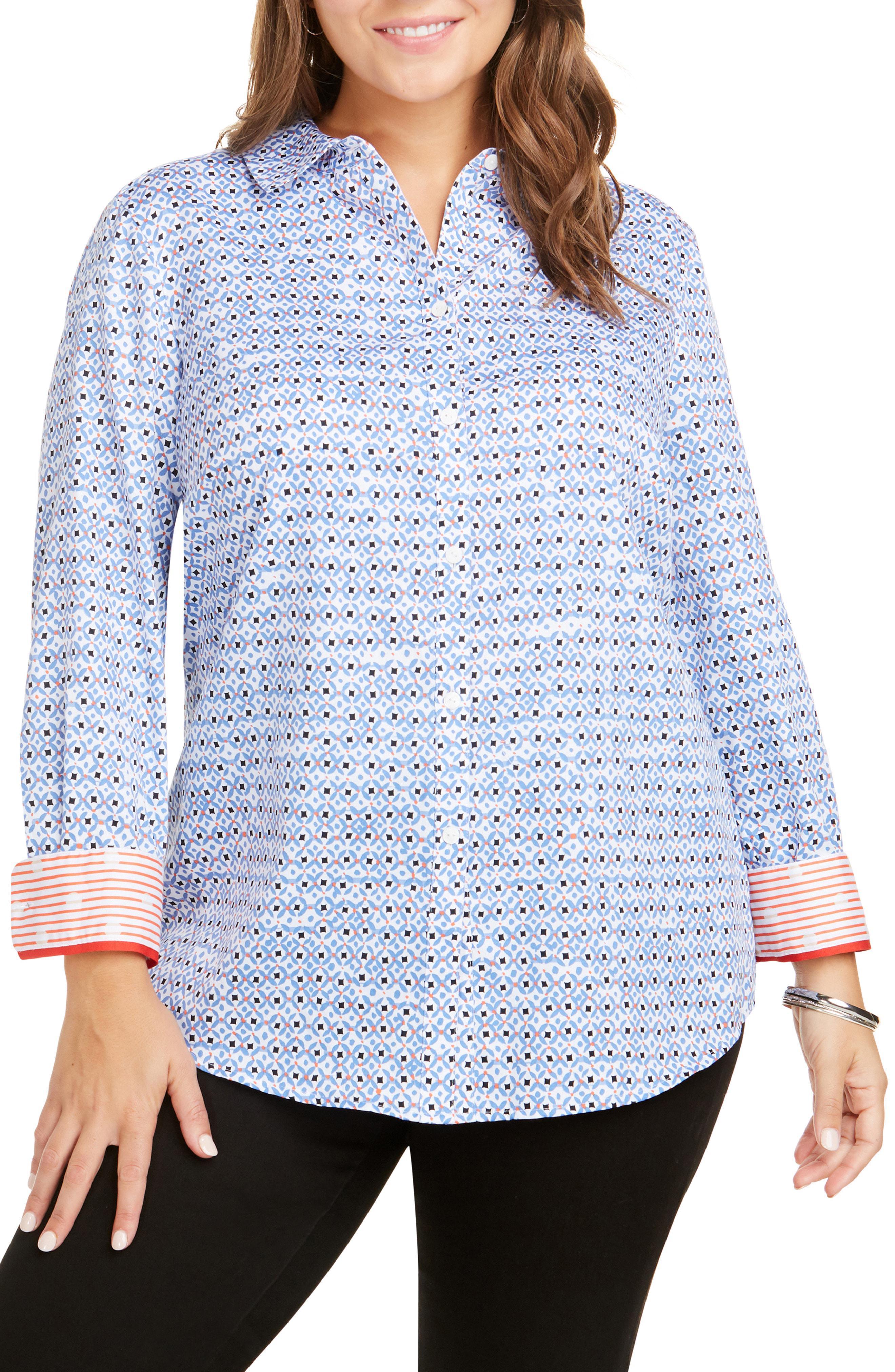 c85cea547e73d Foxcroft. Women s Blue Ava Wrinkle Free Diamond Status Print Cotton Shirt