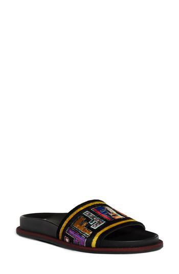 81bd0201187d Lyst - Fendi Fun Genuine Mink Fur Logo Slide Sandal in Black