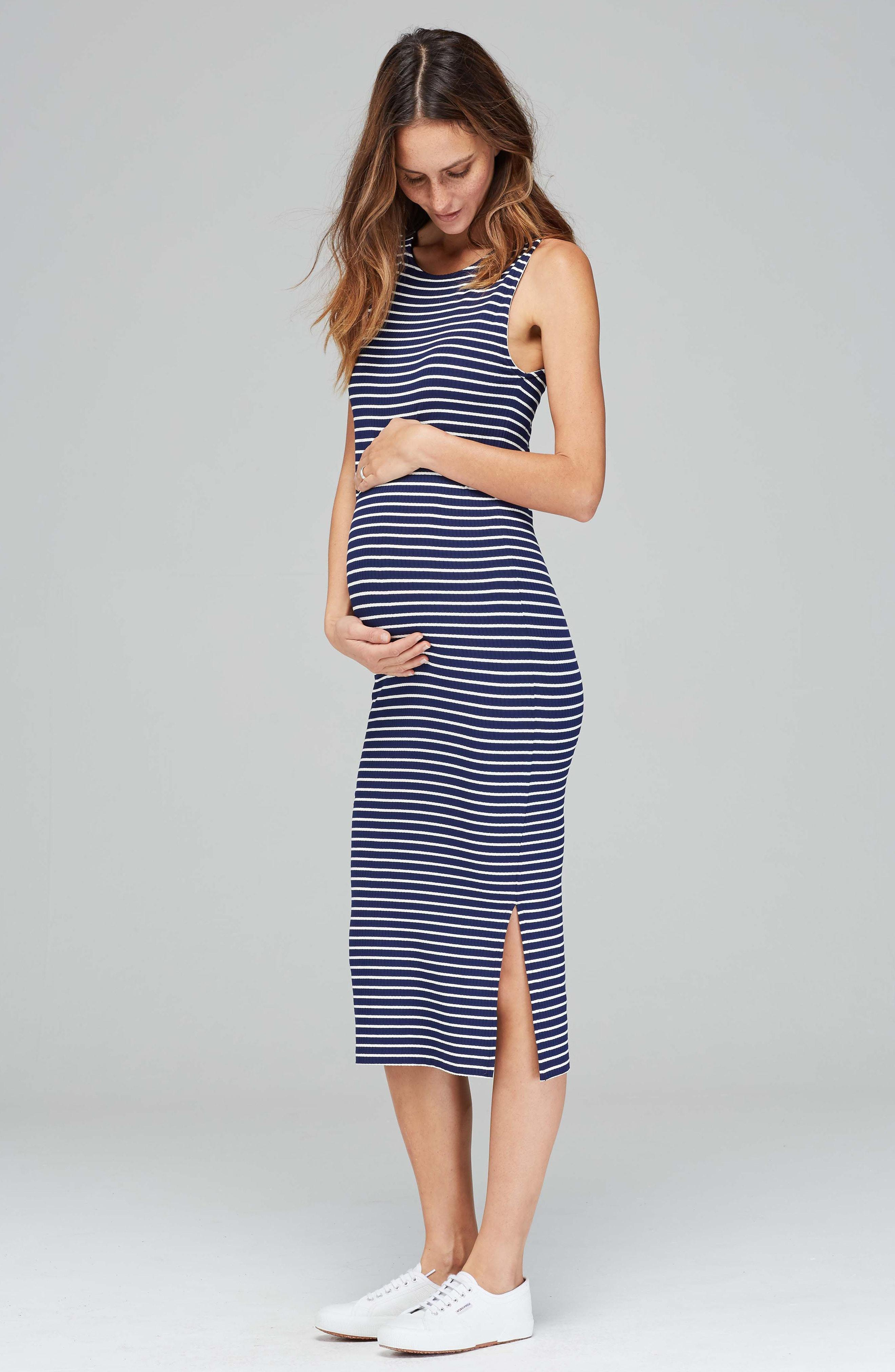 98a71c24b69 Lyst - Isabella Oliver Katerina Ribbed Maternity Tank Dress in Blue