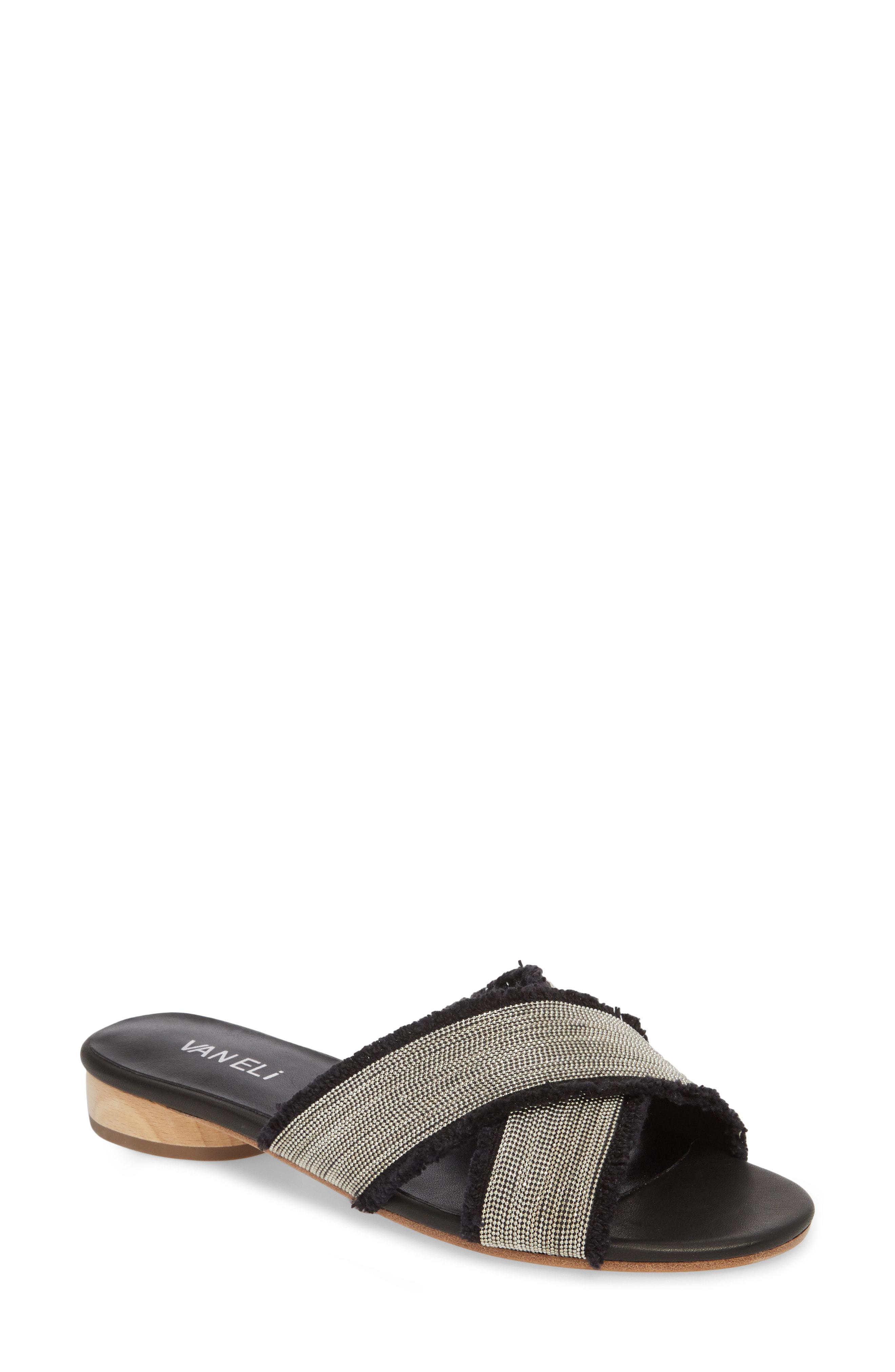 796eecff88e Lyst - Vaneli Baret Embellished Cross Strap Slide Sandal in Black