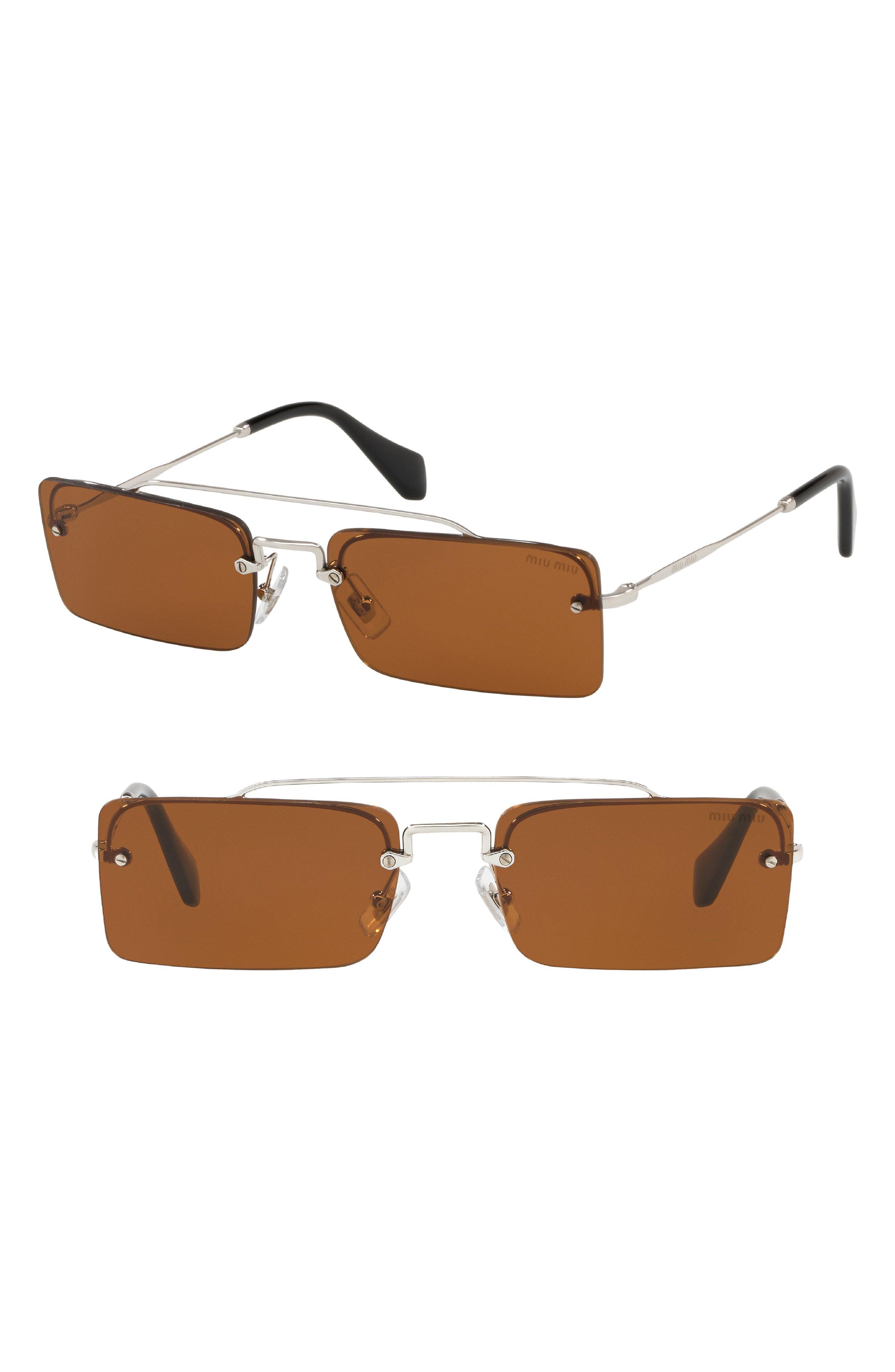 14e642b0444 Lyst - Miu Miu Socit 58mm Square Sunglasses - in Pink