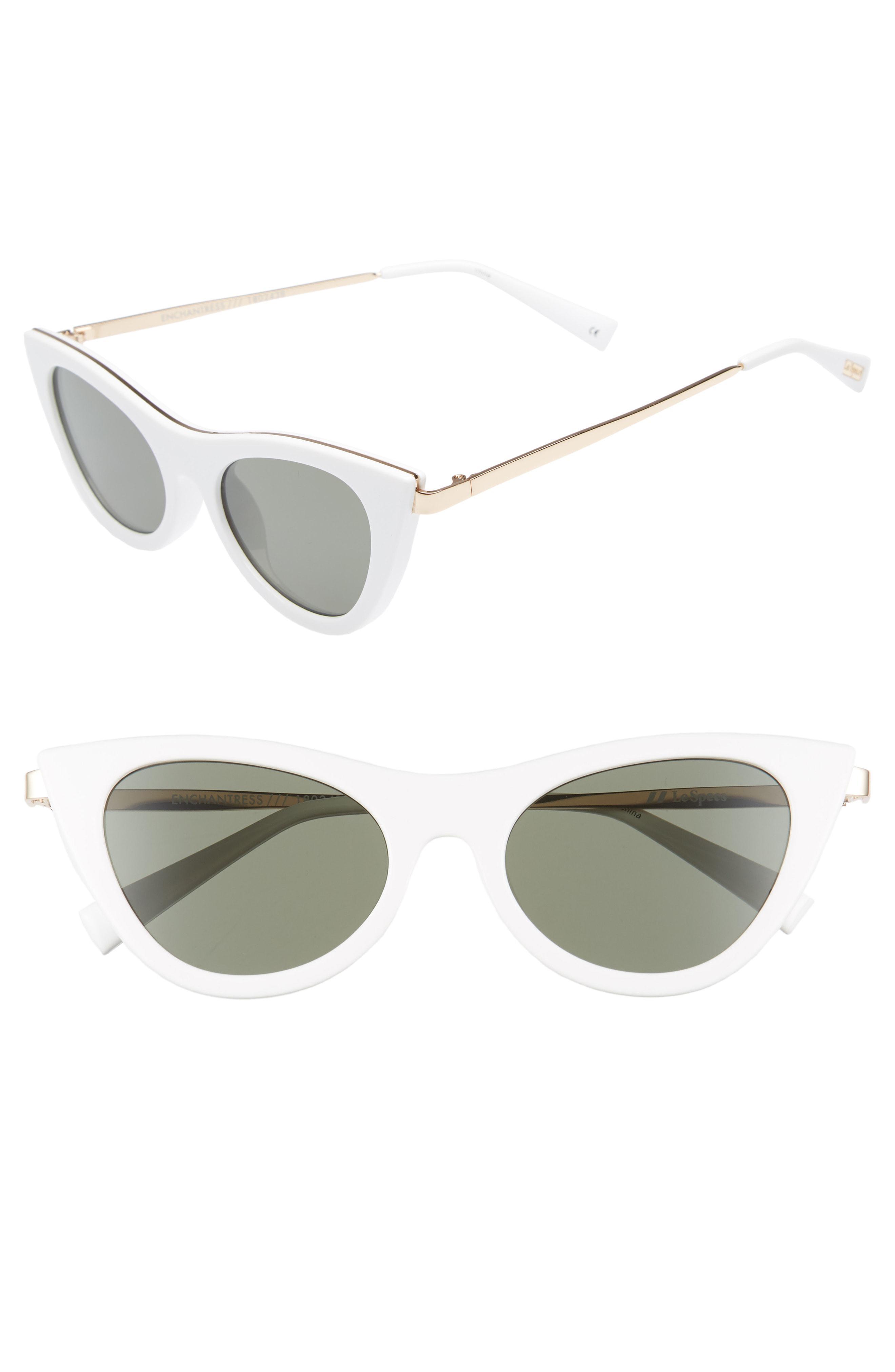 0ef0bc3370 Le Specs Enchantress 50mm Cat Eye Sunglasses in White - Lyst