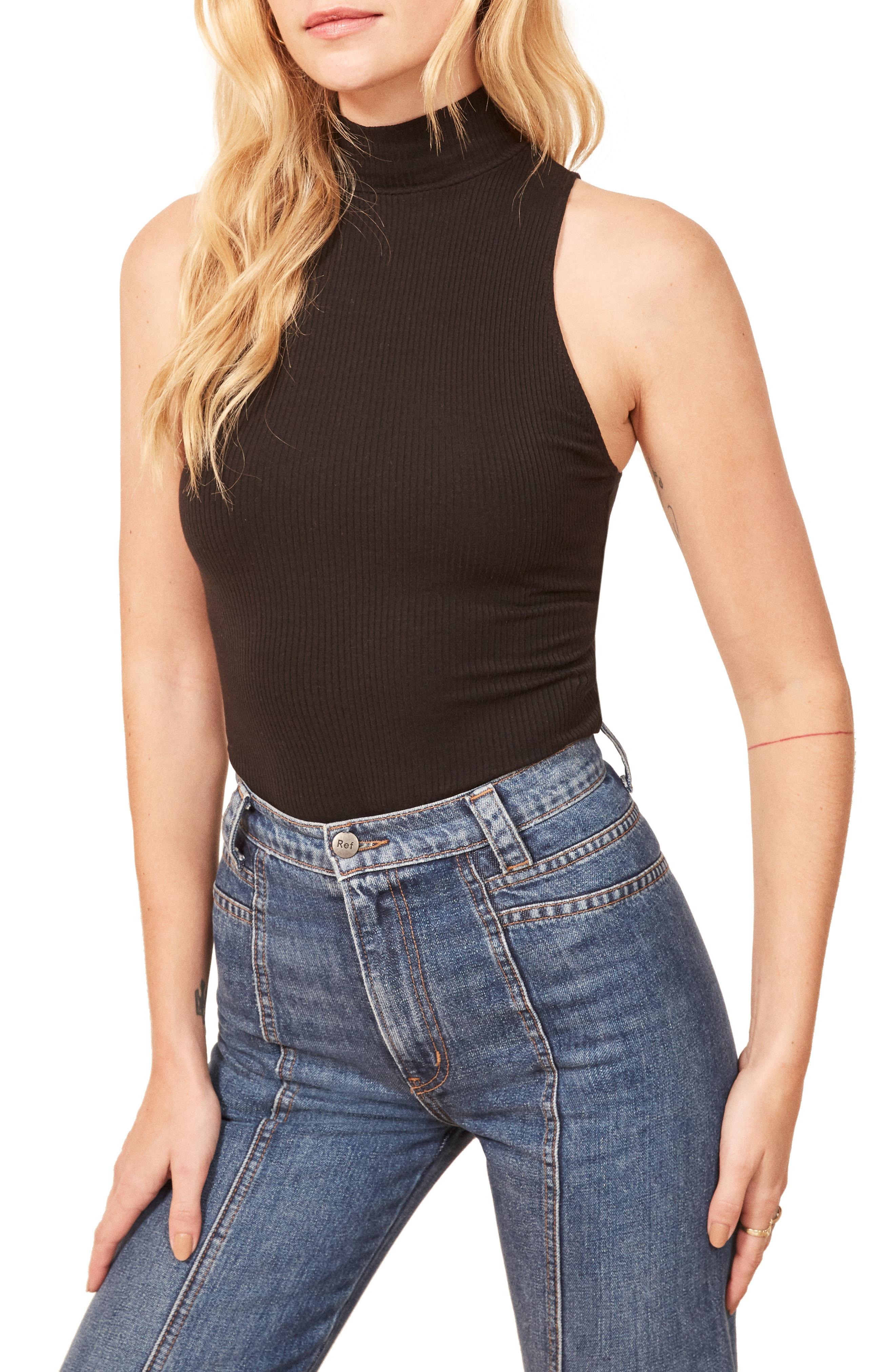 7db8178b979e Lyst - Reformation Nelly Sleeveless Mock Neck Top in Black
