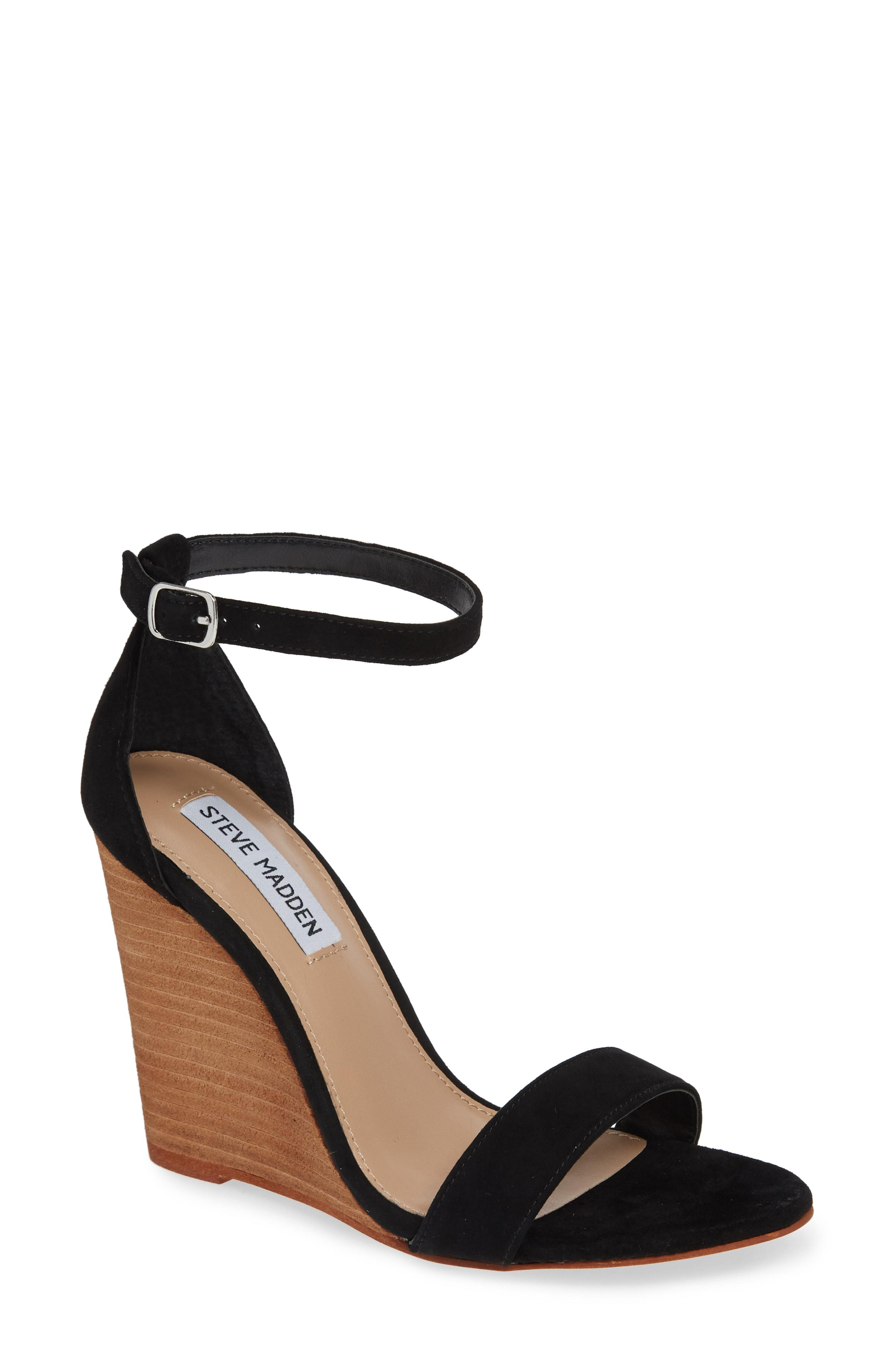 88354b01e2132a Steve Madden - Black Mary Ankle Strap Wedge - Lyst. View fullscreen