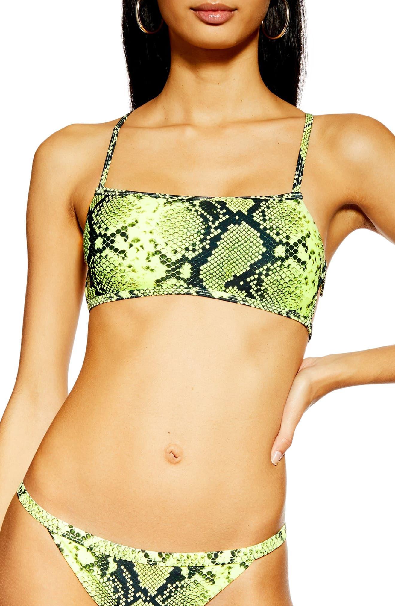 600f731e0 TOPSHOP Neon Snake Bandeau Bikini Top - Lyst