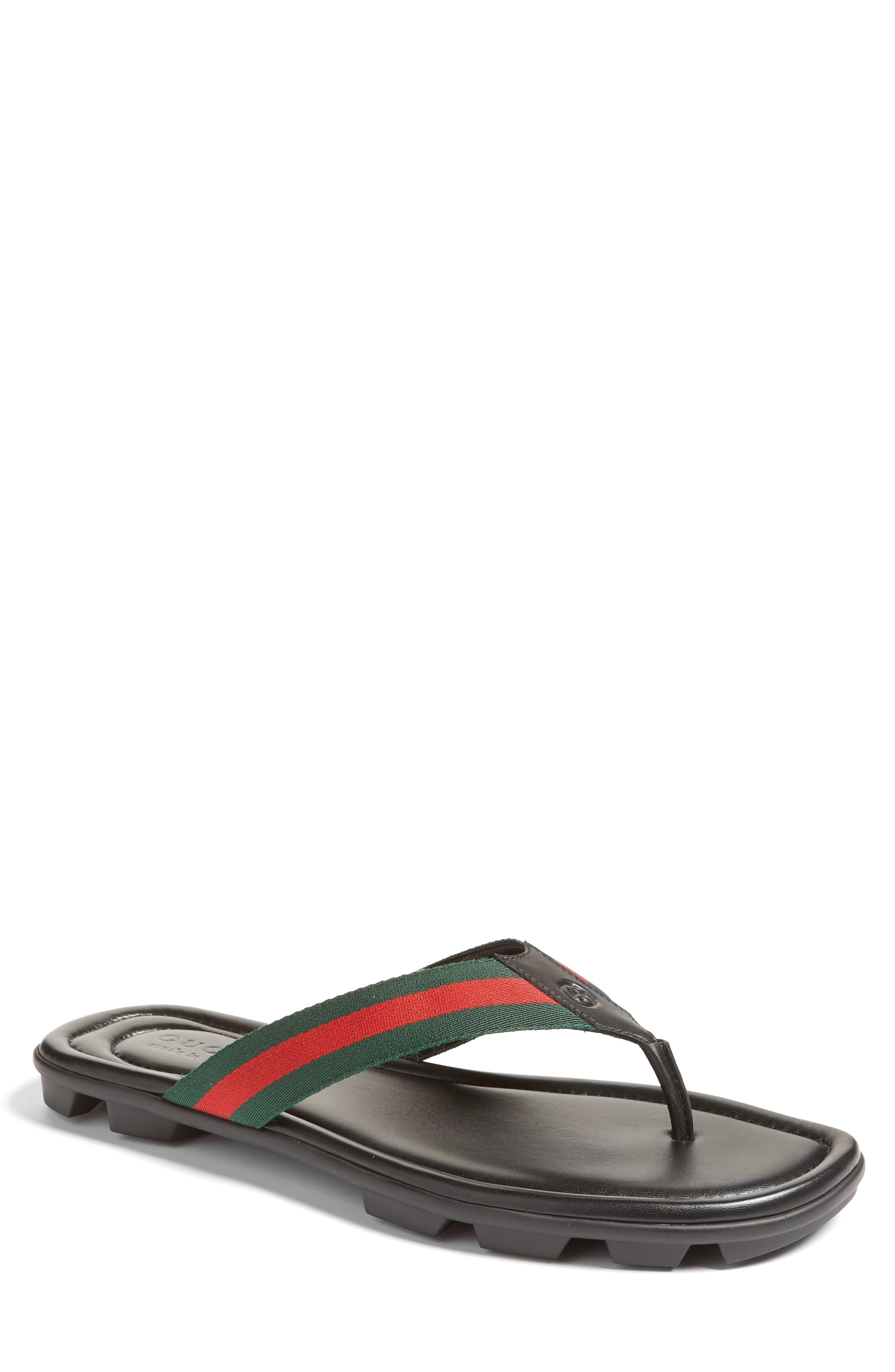 a8ce9158b8a2df Lyst - Gucci Web   Leather Thong Sandals for Men - Save 5%