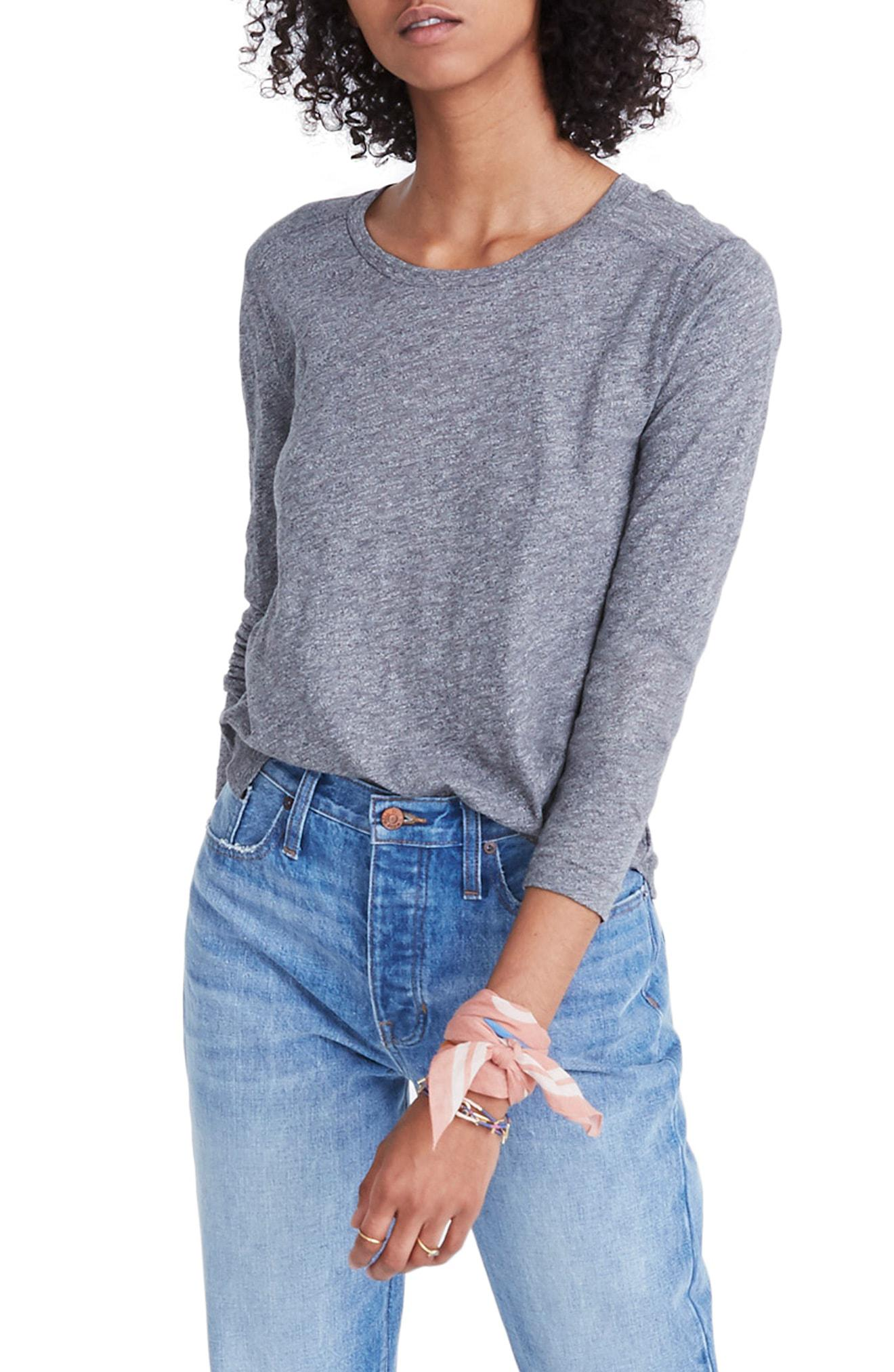 12771a8c Lyst - Madewell Whisper Cotton Long Sleeve Crewneck Tee in Blue