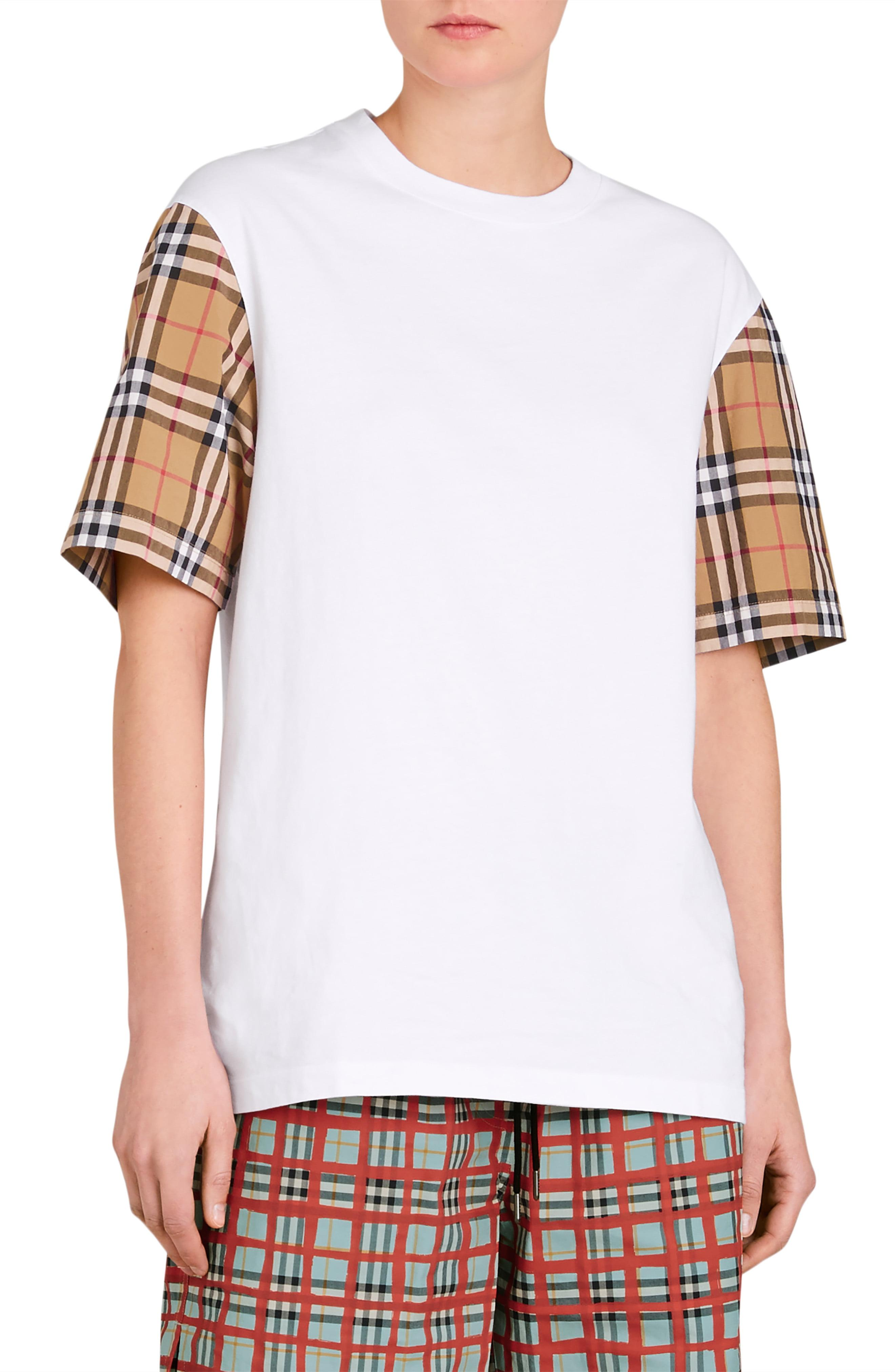 d851102302 Lyst - Burberry Serra Vintage Check Sleeve Tee in White