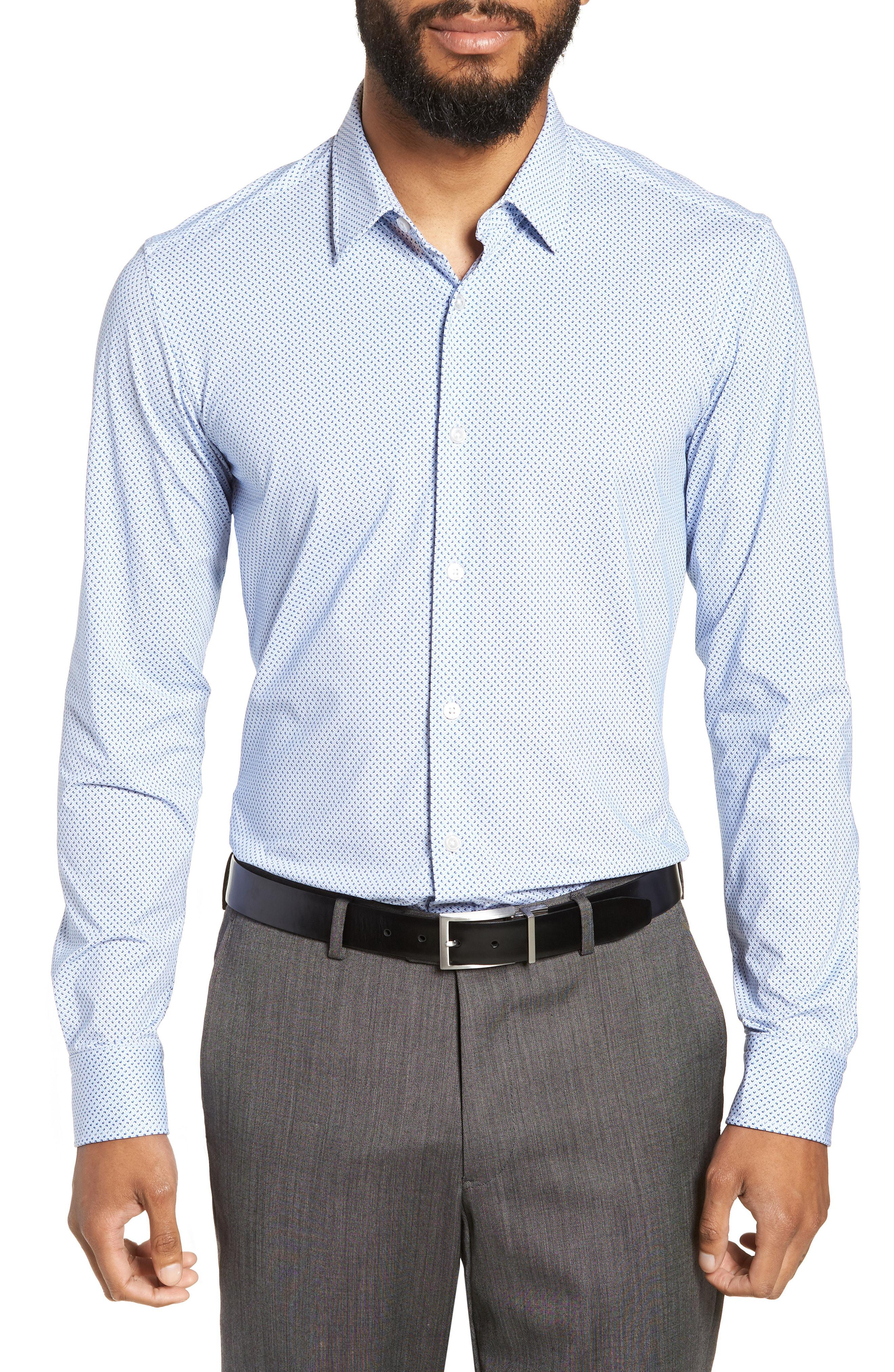 54389eb460d BOSS Ronni Slim Fit Performance Sport Shirt in Blue for Men - Lyst