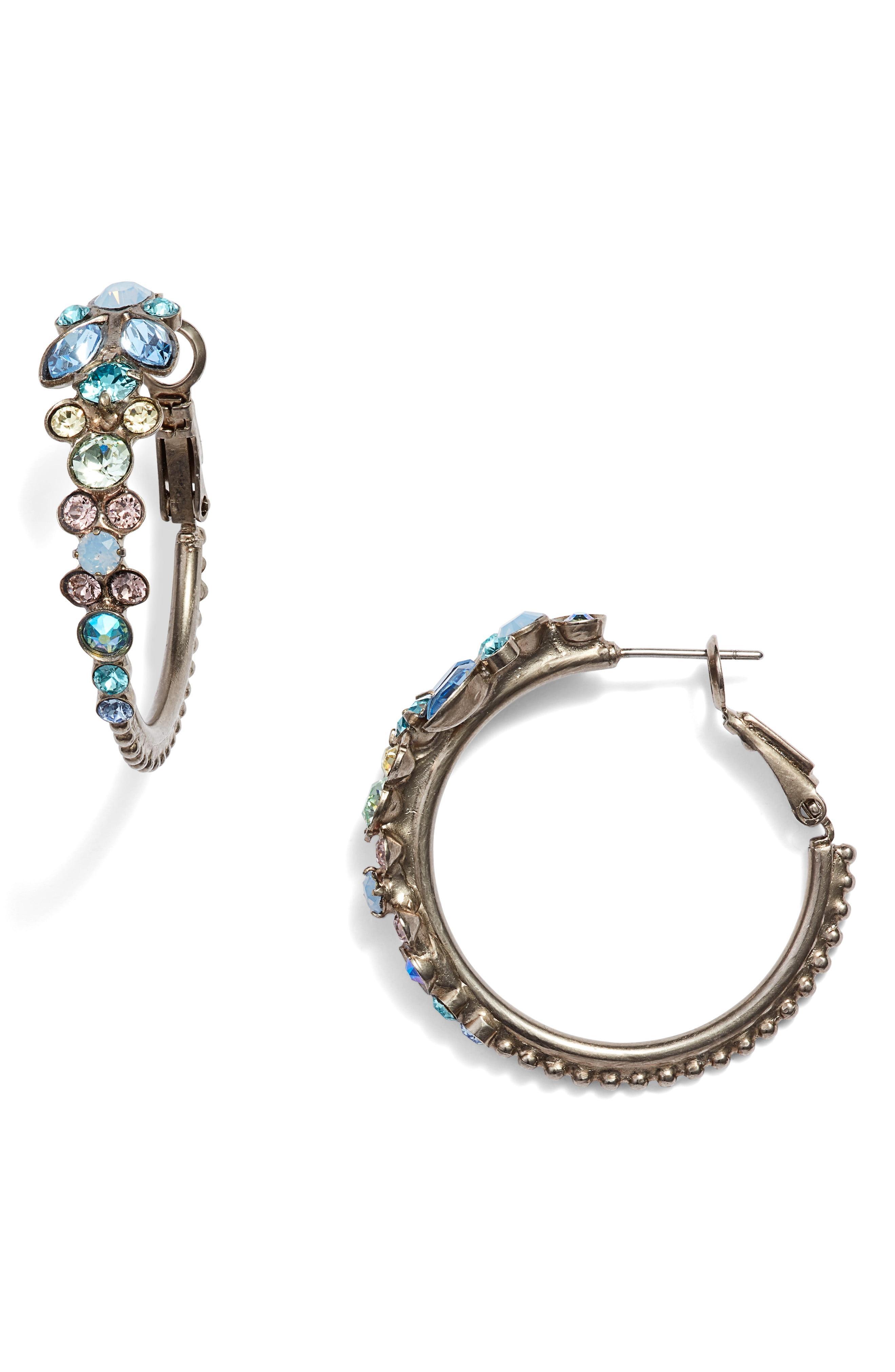 6d1cbeaab Lyst - Sorrelli Pastel Prep Floral Adorned Hoop Earrings in Blue