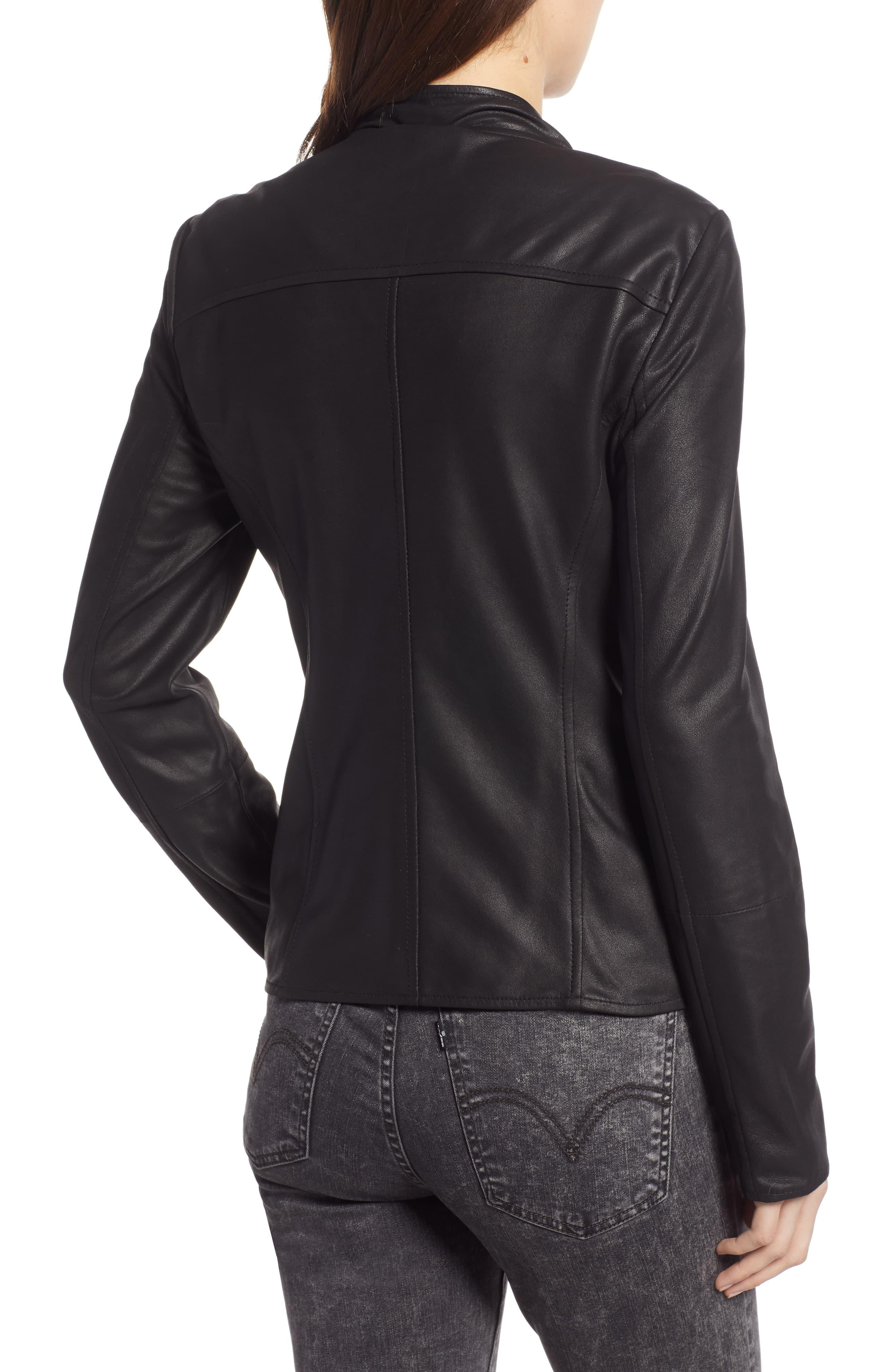 14c6e4e8c Lamarque Waterfall Leather Jacket in Black - Lyst