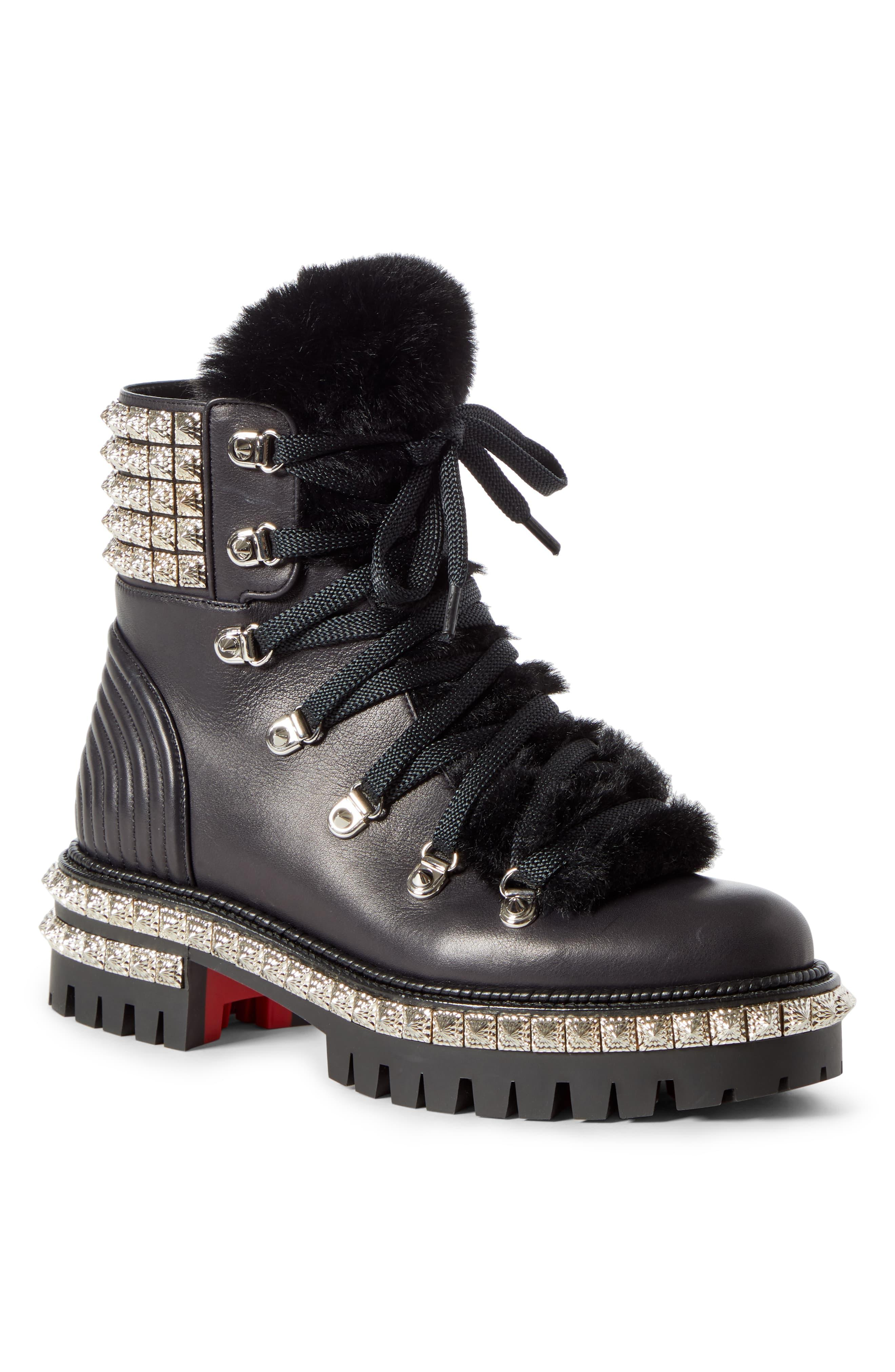 innovative design aed14 651ba Christian Louboutin - Black Yeti Studded Hiking Boot With Faux Fur Trim -  Lyst