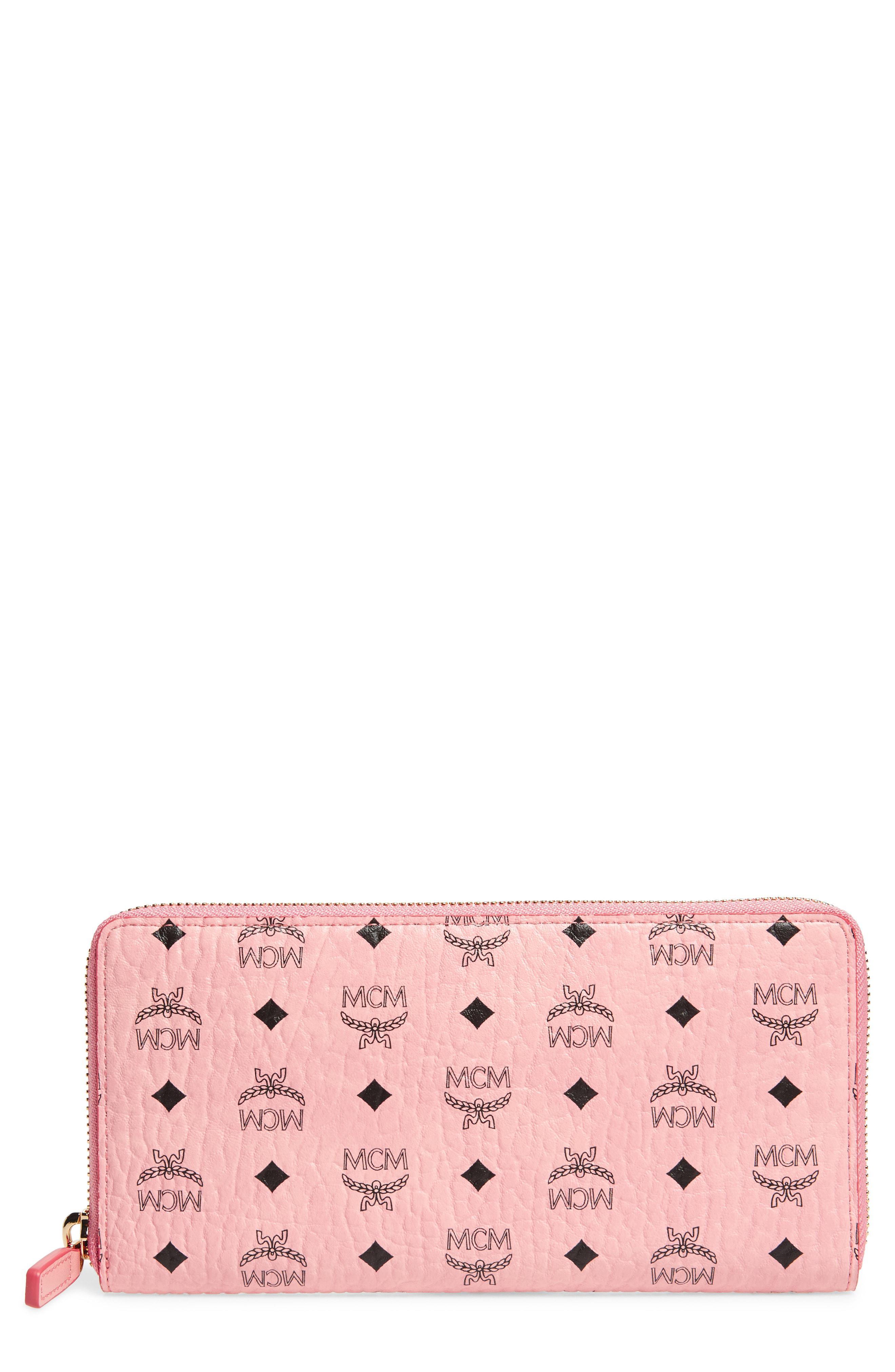 41688ed1a80 Lyst - Mcm Visetos Original Zip Around Coated Canvas Wallet in Pink ...