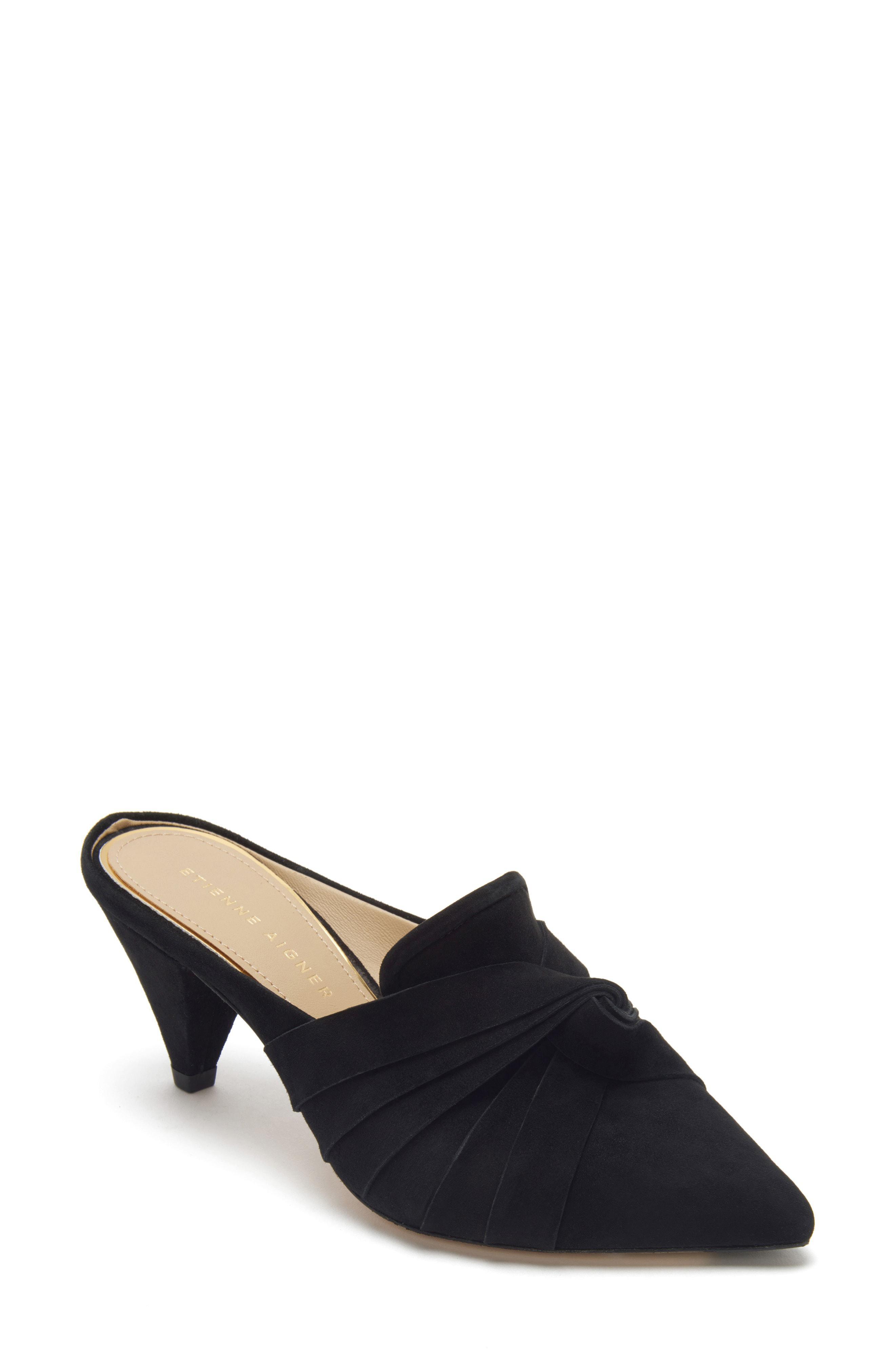 9e8b78a55c8a Lyst - Etienne Aigner Pavana Suede Dress Mules in Black