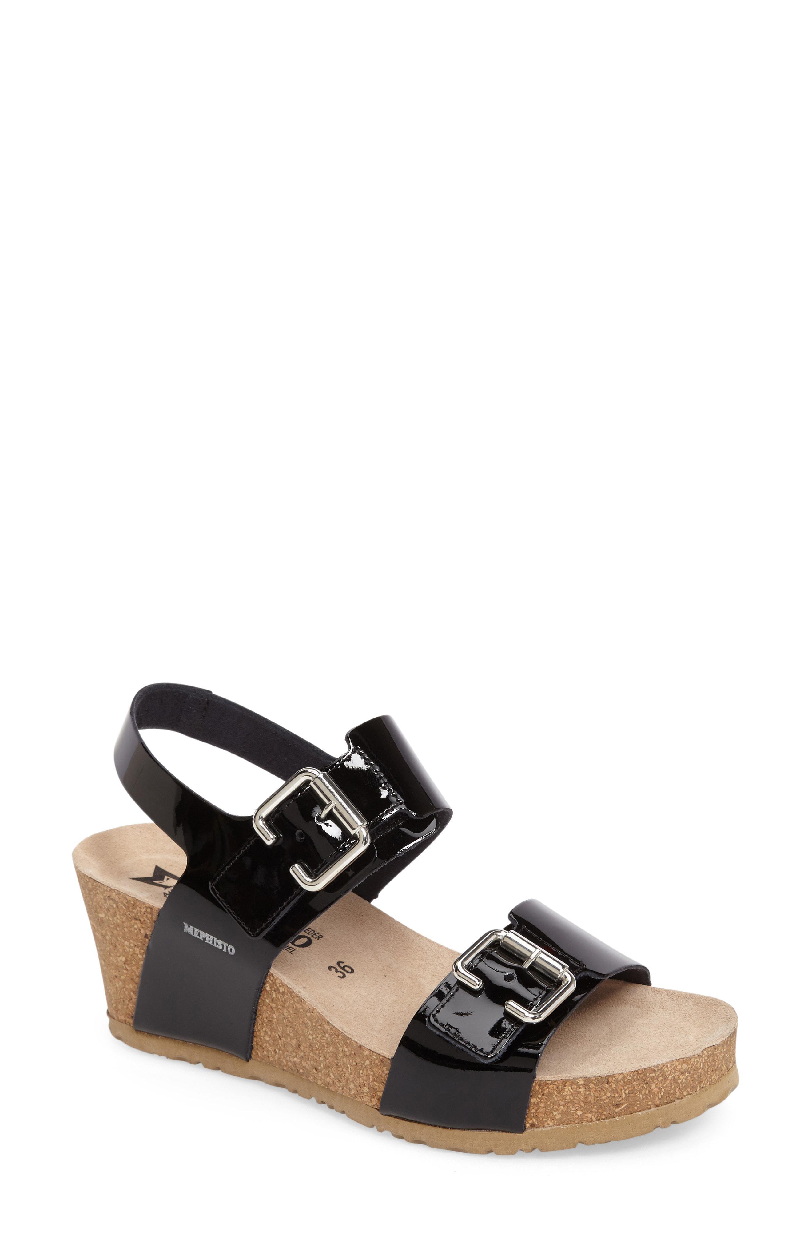 610b46a7656 Lyst - Mephisto Lissandra Platform Wedge Sandal in Black