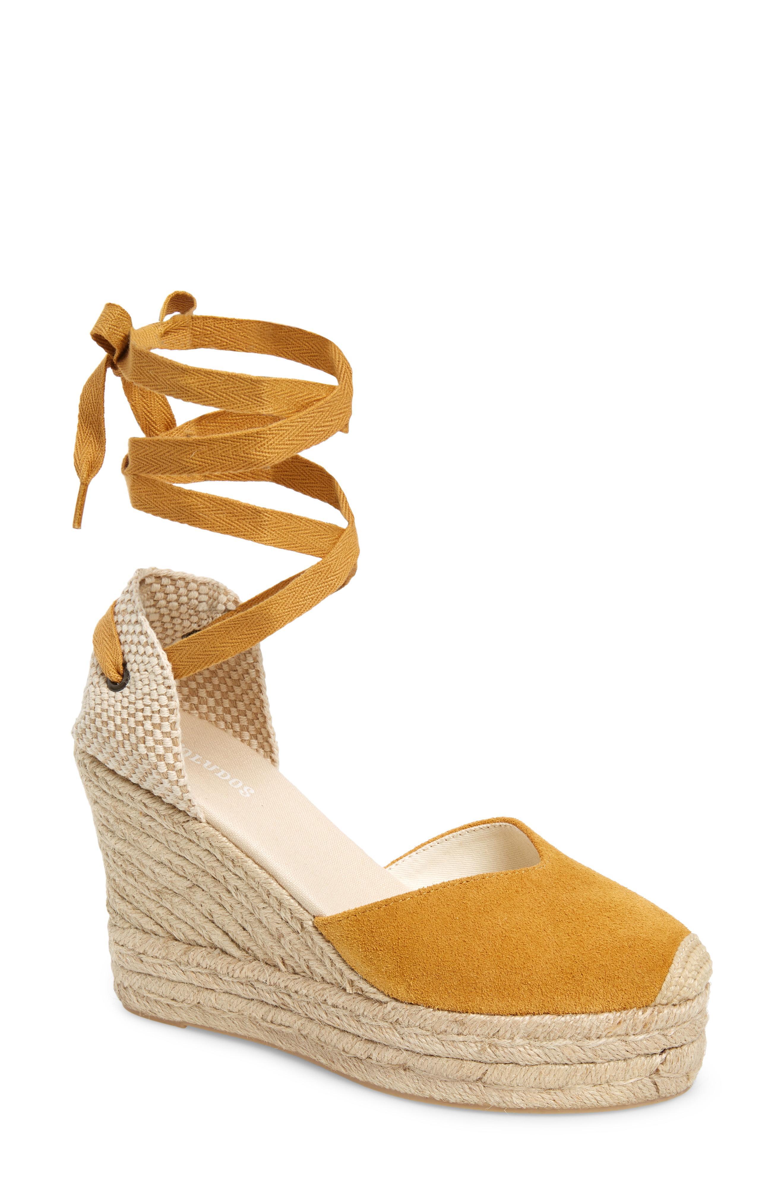 a3ba1e2a7ed Lyst - Soludos Mallorca Lace-up Espadrille Wedge Sandal in Metallic
