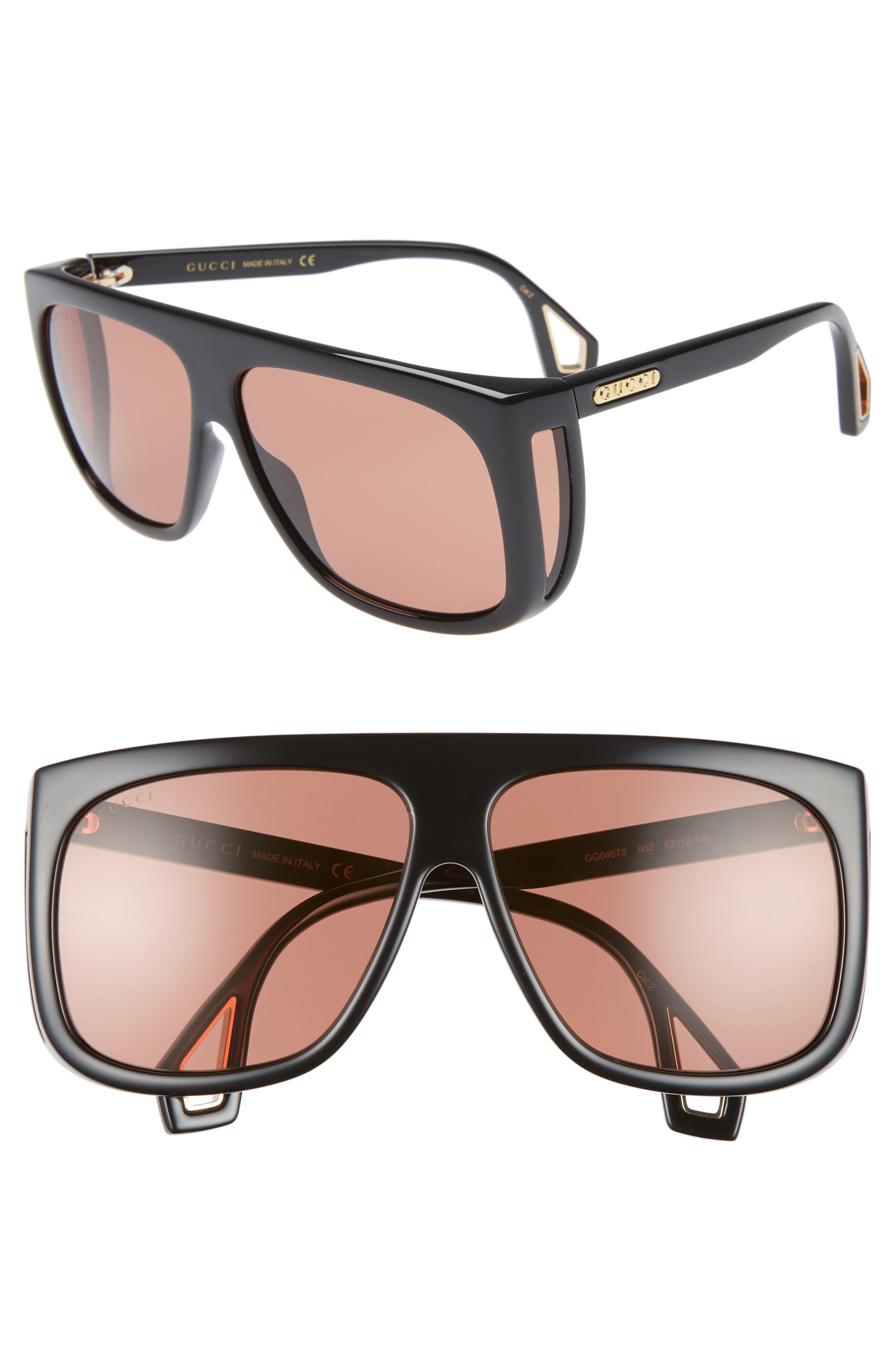 63606dd81c19 Gucci 62mm Navigator Sunglasses in Black for Men - Lyst