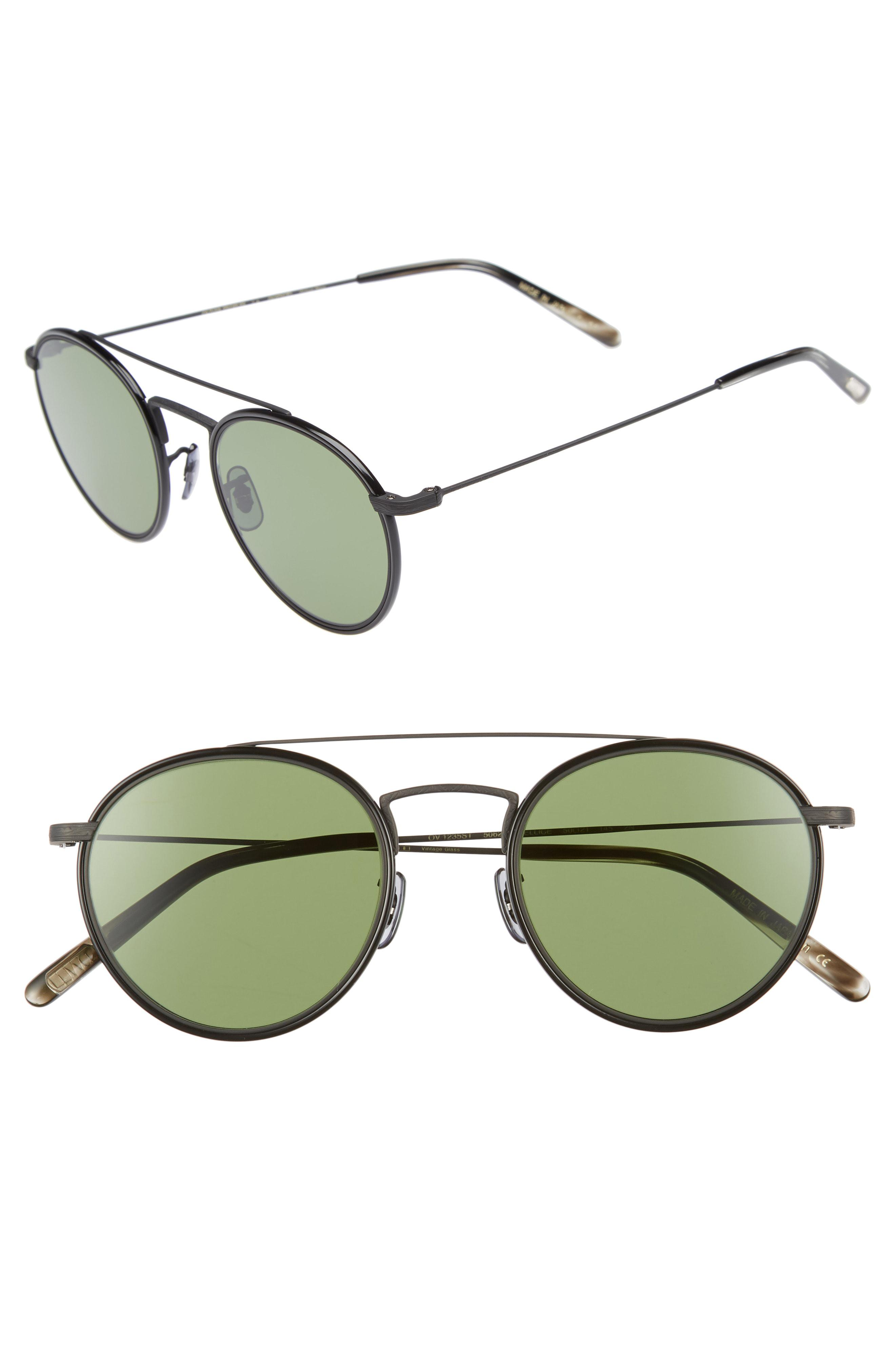 21b45777b73c Lyst - Oliver Peoples Ellice 50mm Round Sunglasses in Green for Men