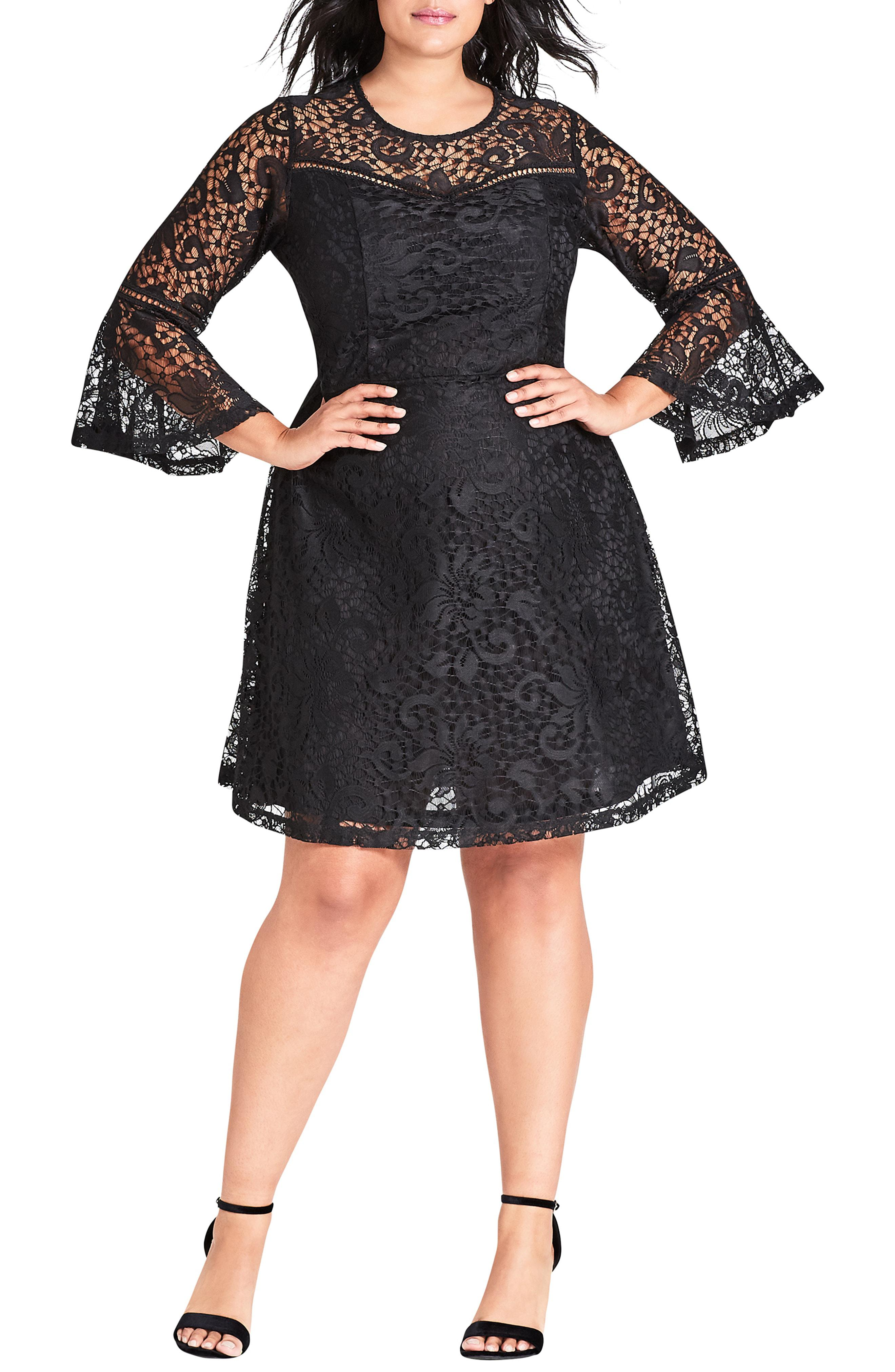 6840d75d9521 Lyst - City Chic Lace Fit & Flare Dress in Black