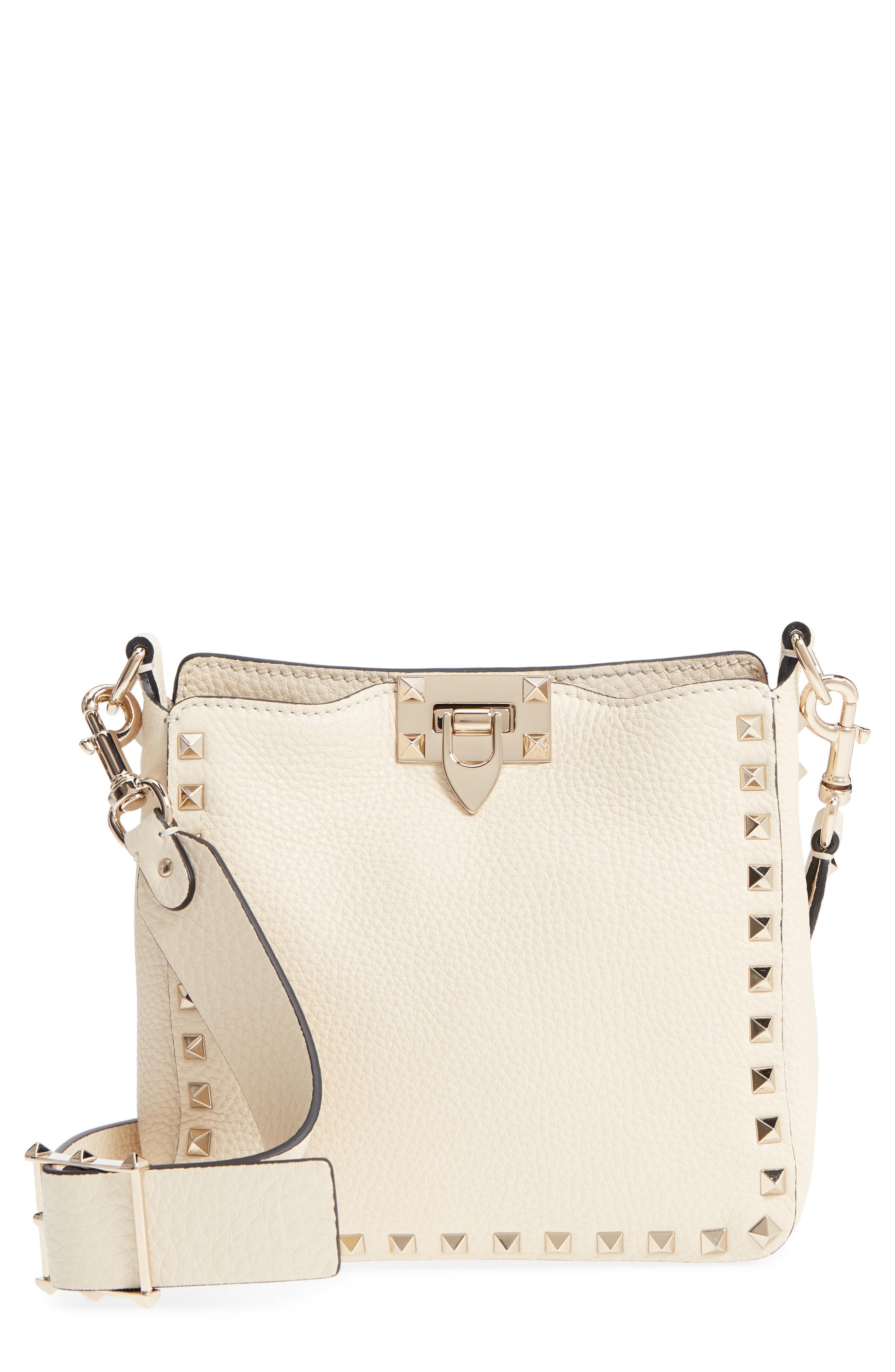 Lyst - Valentino Rockstud Mini Hobo Crossbody Bag - in Natural b865ee4ae0afa