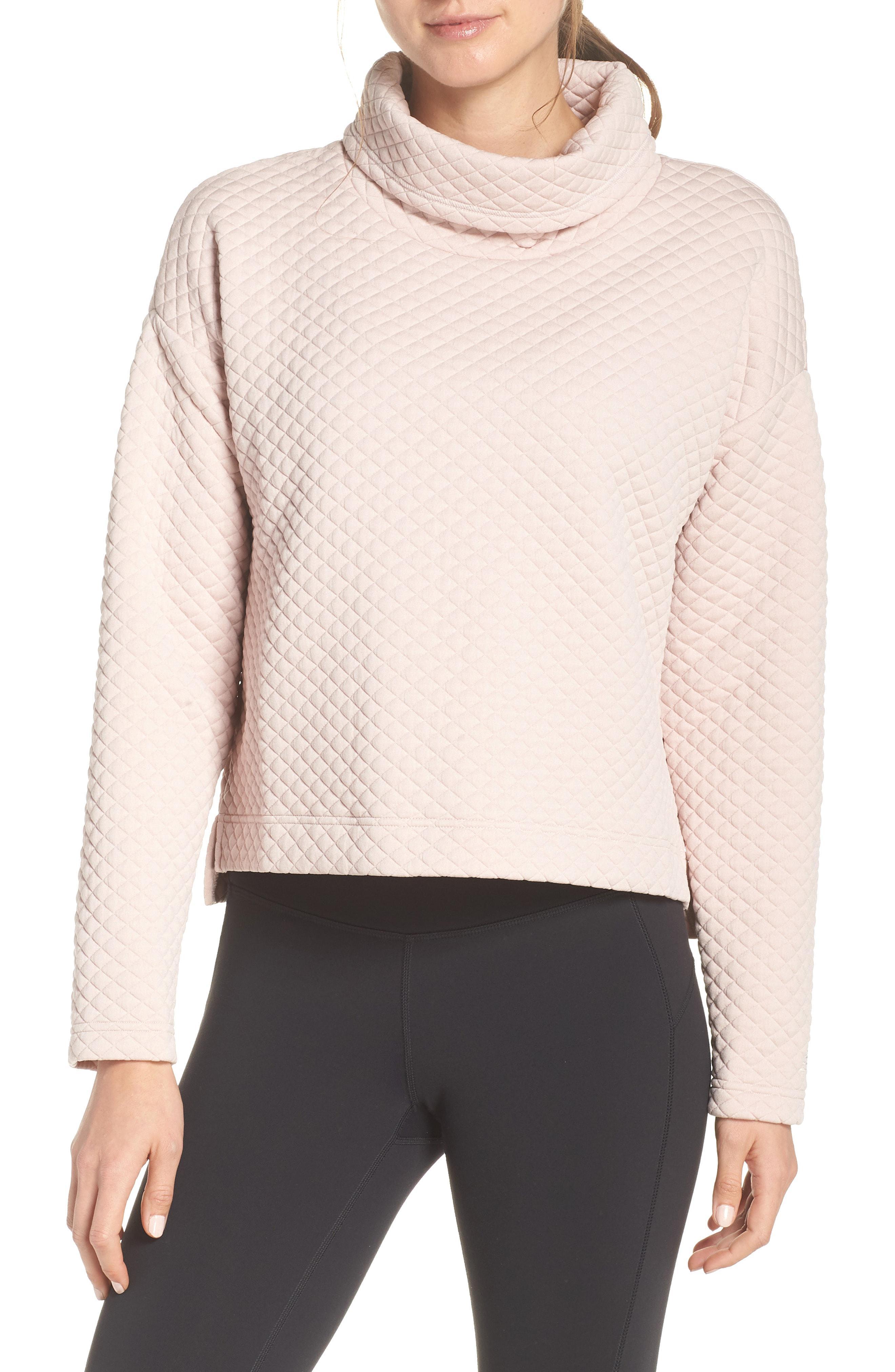 bd03d097ffec4 Lyst - New Balance Heat Loft Funnel Neck Sweatshirt in Pink