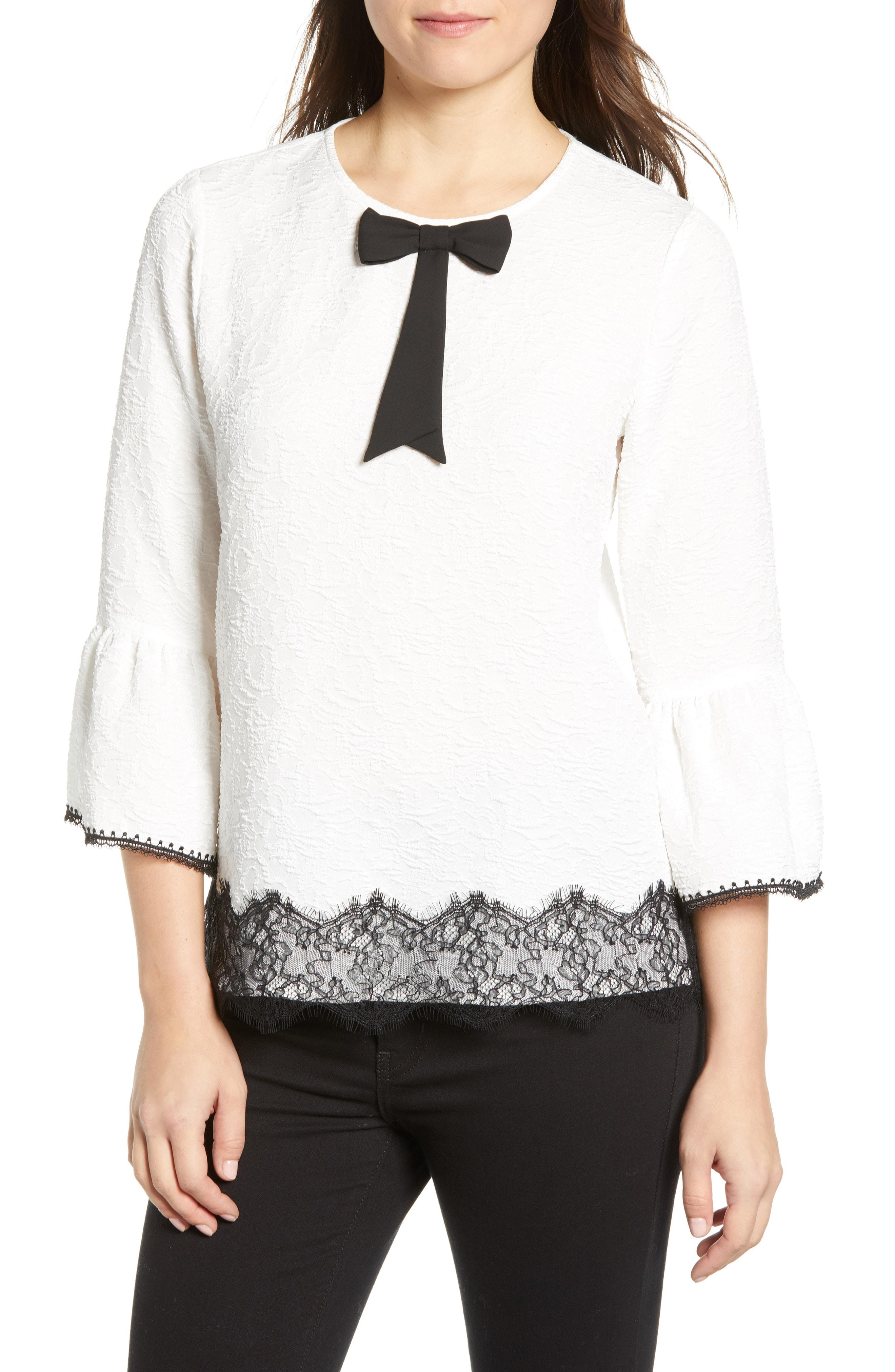 1acc632e2a58 Lyst - Karl Lagerfeld Lace Bell Sleeve Blouse in White - Save 17%