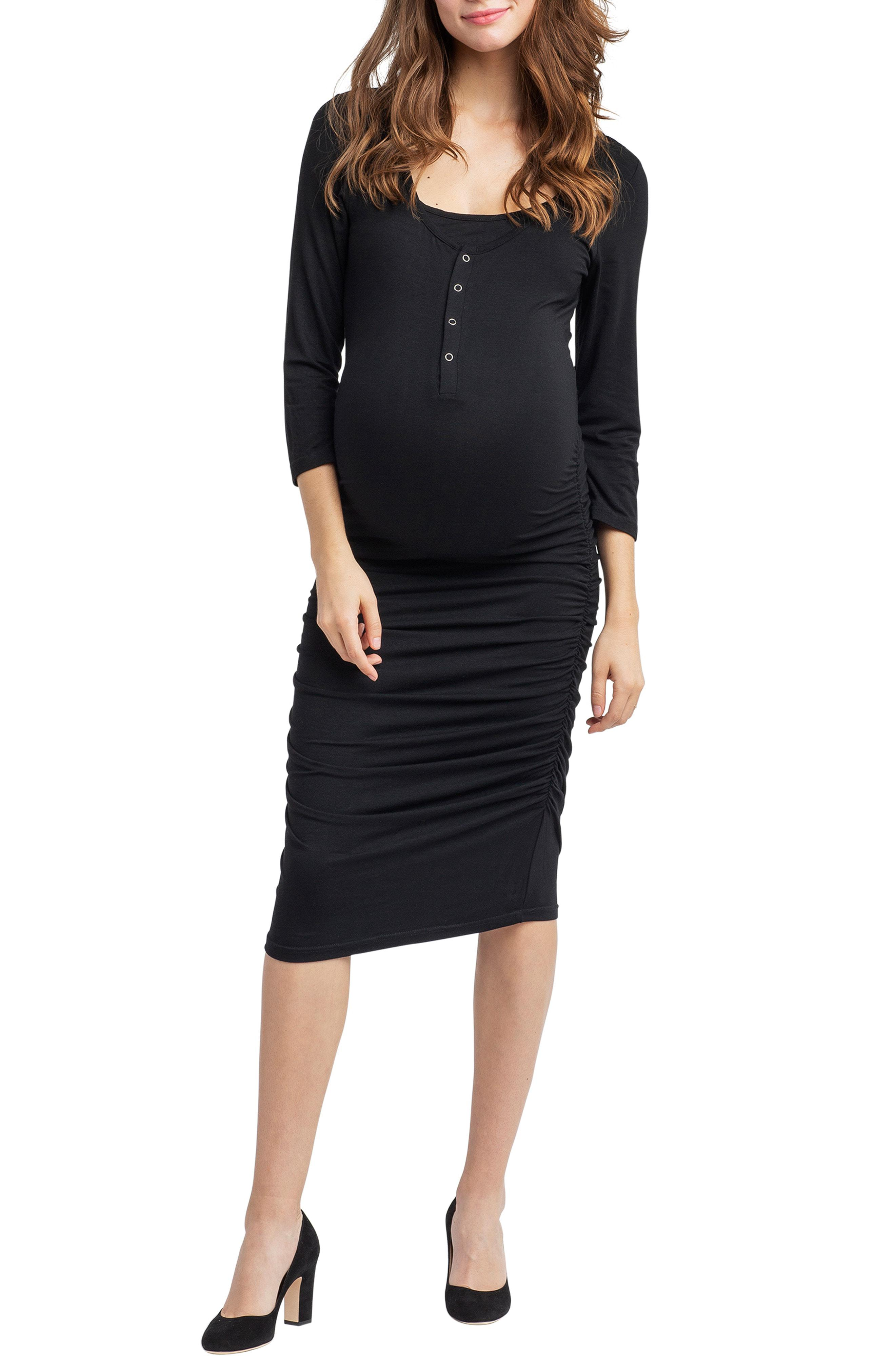 ea29a47bc5d Lyst - Nom Maternity Nom Henley Maternity Dress in Black - Save 31%