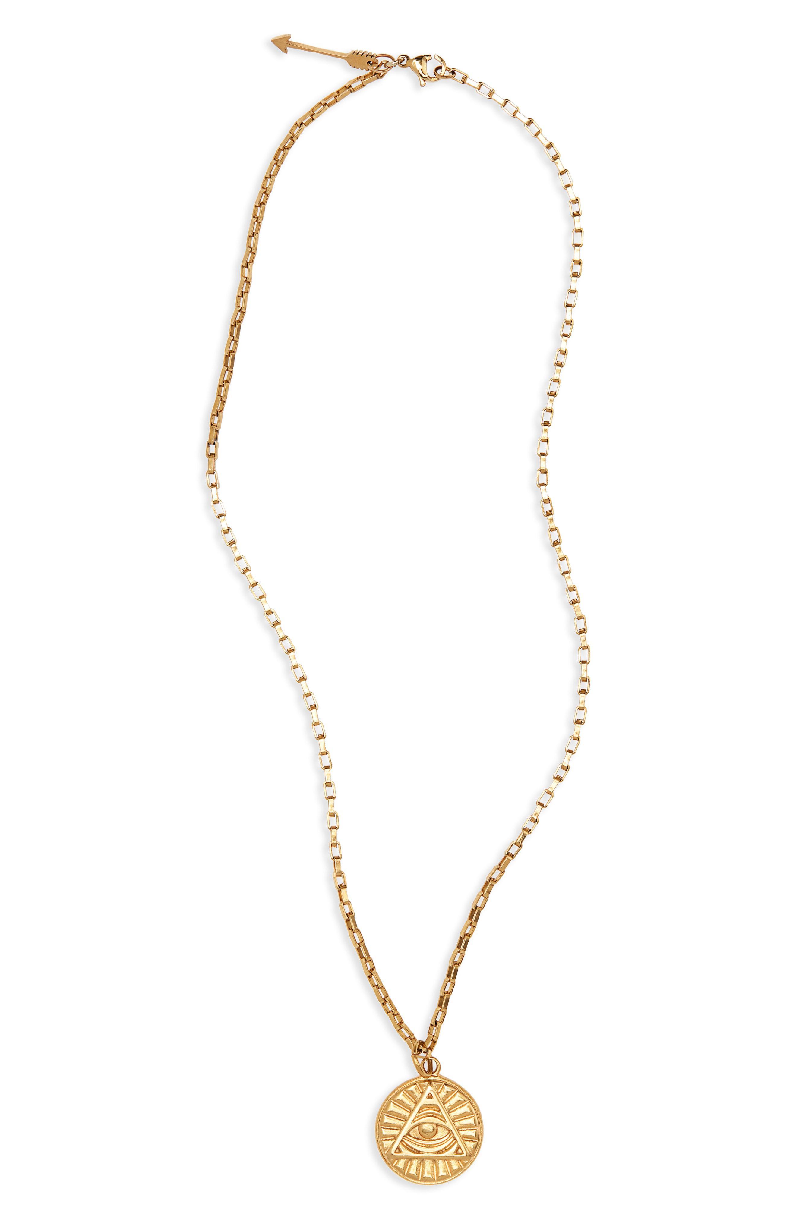 02bcfeeae Lyst - Ellie Vail Heath Pyramid Medallion Necklace in Metallic