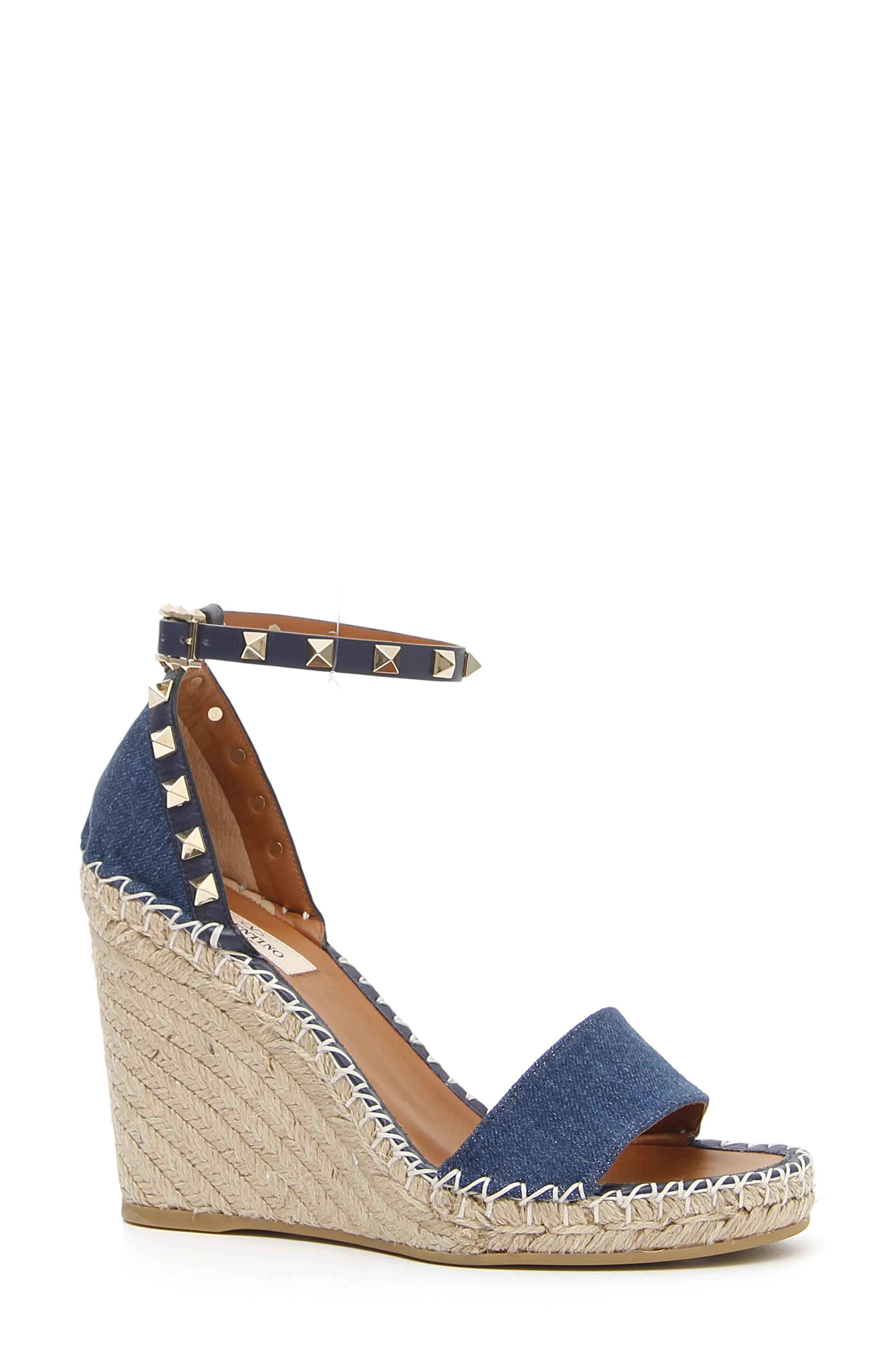 dffa6b5c6ce Lyst - Valentino Women's Rockstud Denim Espadrille Wedge Sandals ...