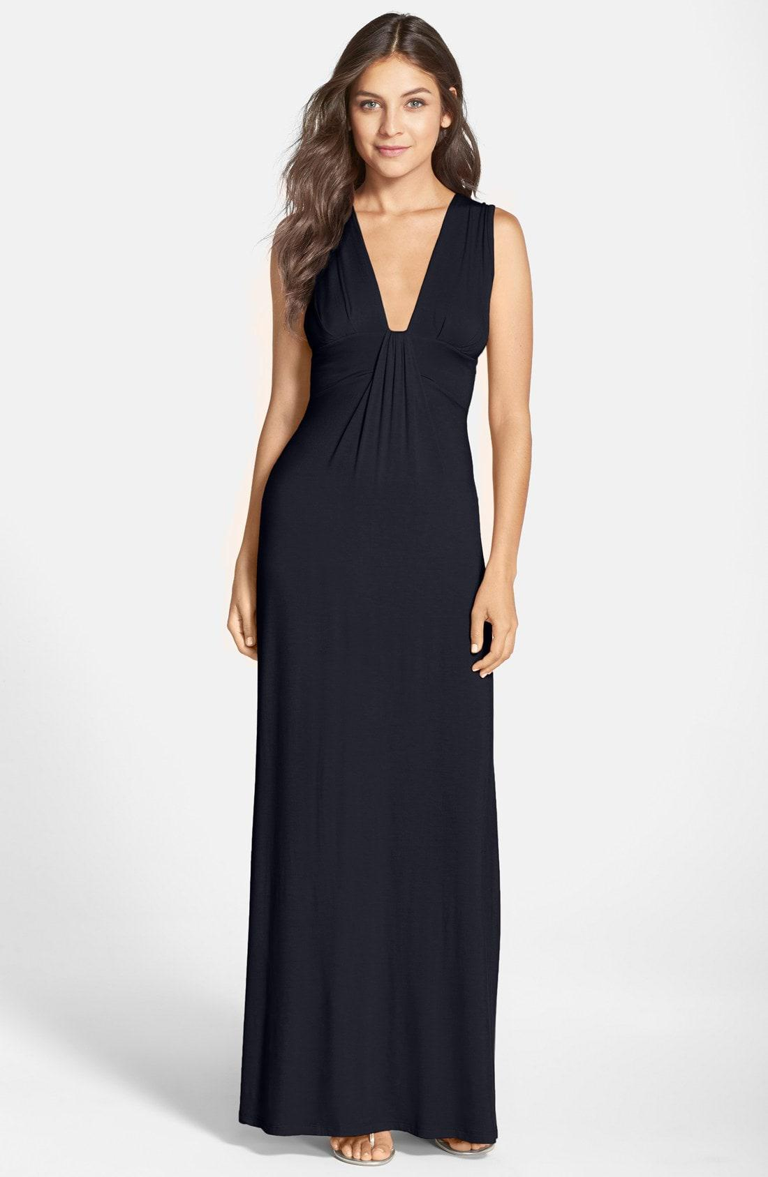 fdd4629f7a Lyst - Fraiche By J Deep V-neck Jersey Maxi Dress in Blue