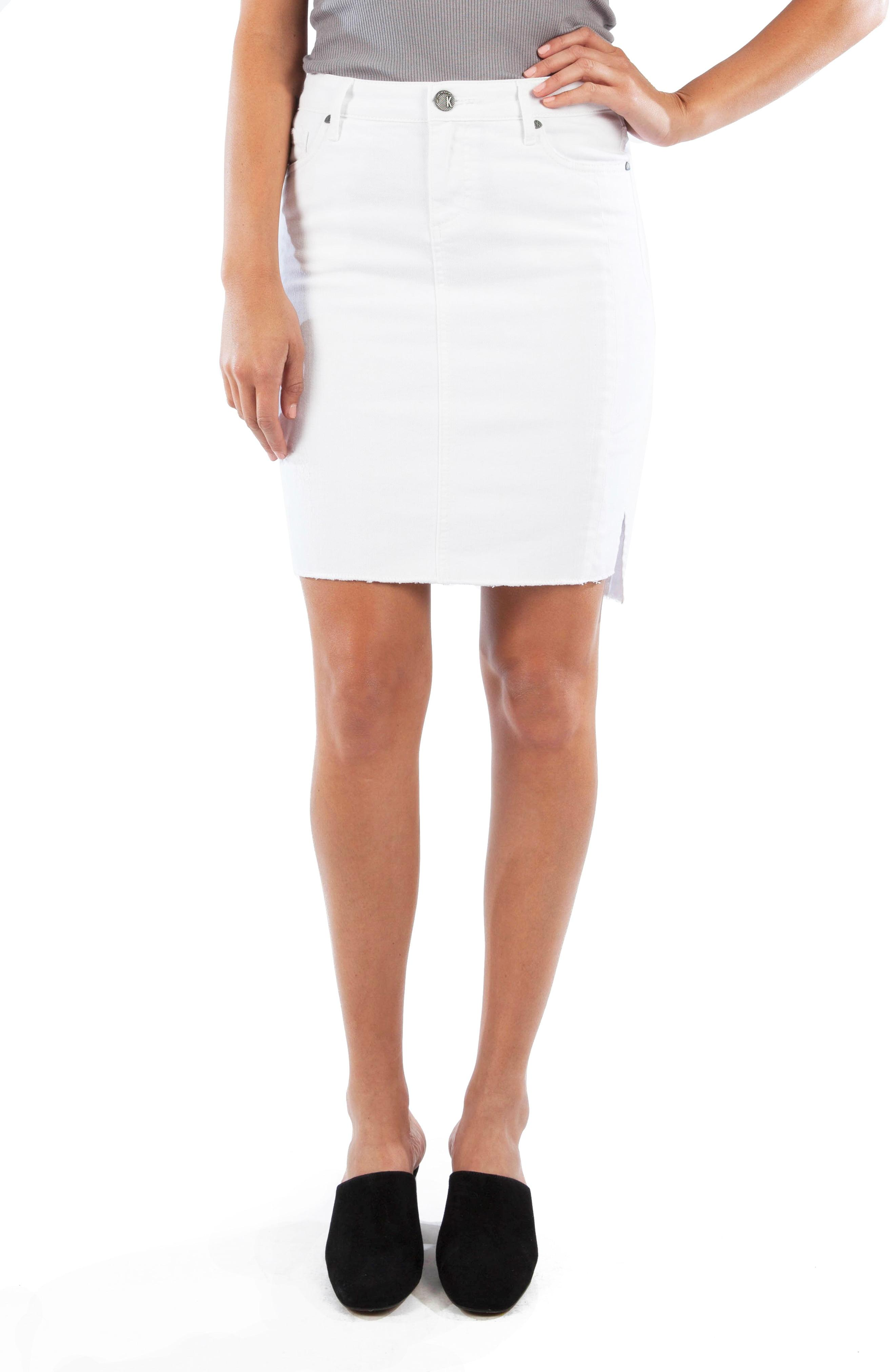 aa59d7e0a2 Kut From The Kloth. Women's White Connie Step Raw Hem Stretch Cotton Skirt