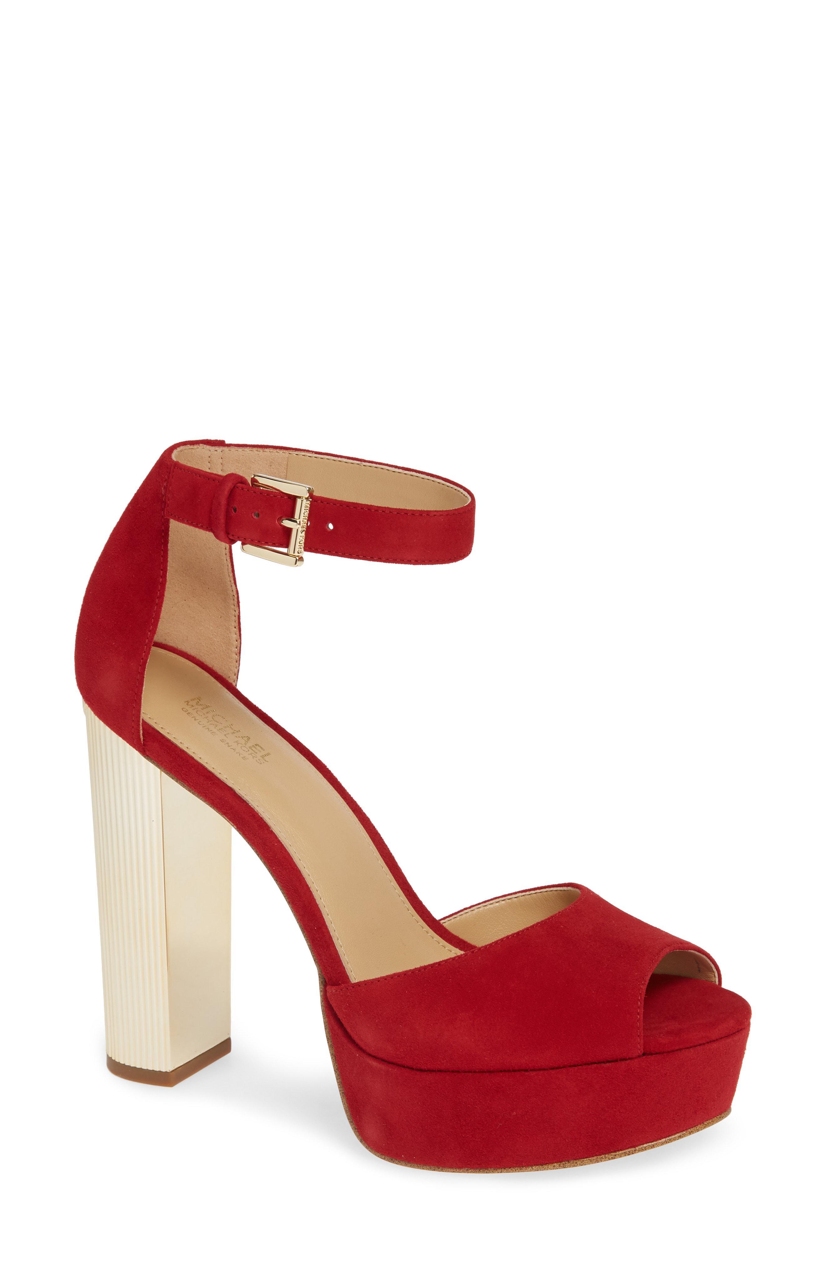 9af712b8ee MICHAEL Michael Kors Paloma Metallic Heel Platform Sandal in Red - Lyst