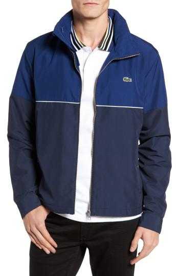 b1966b338 Lyst - Lacoste Water Resistant Hooded Parka in Blue for Men