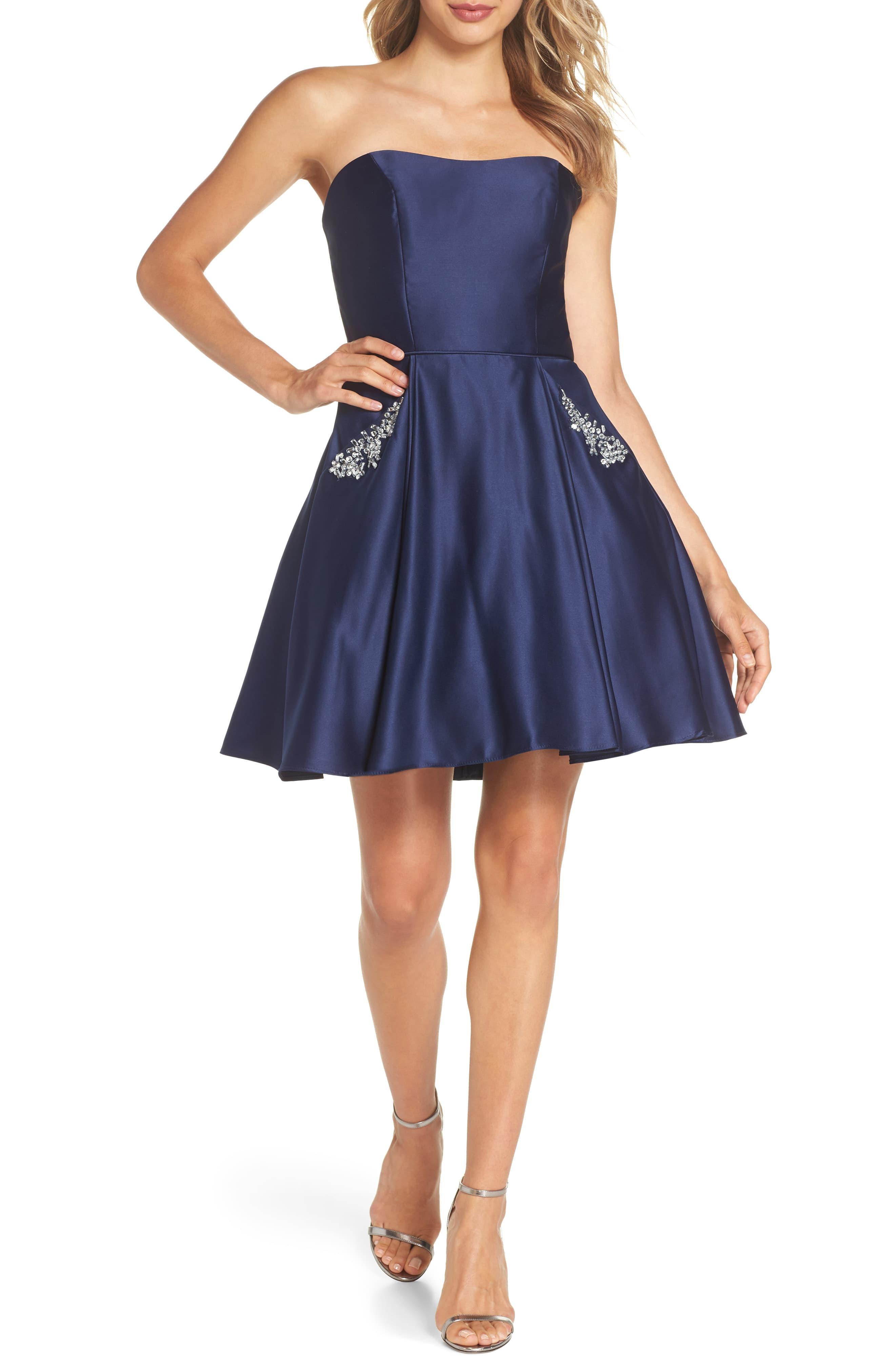 040c224afe7 Blondie Nites Embellished Satin Fit   Flare Dress in Blue - Save 30 ...