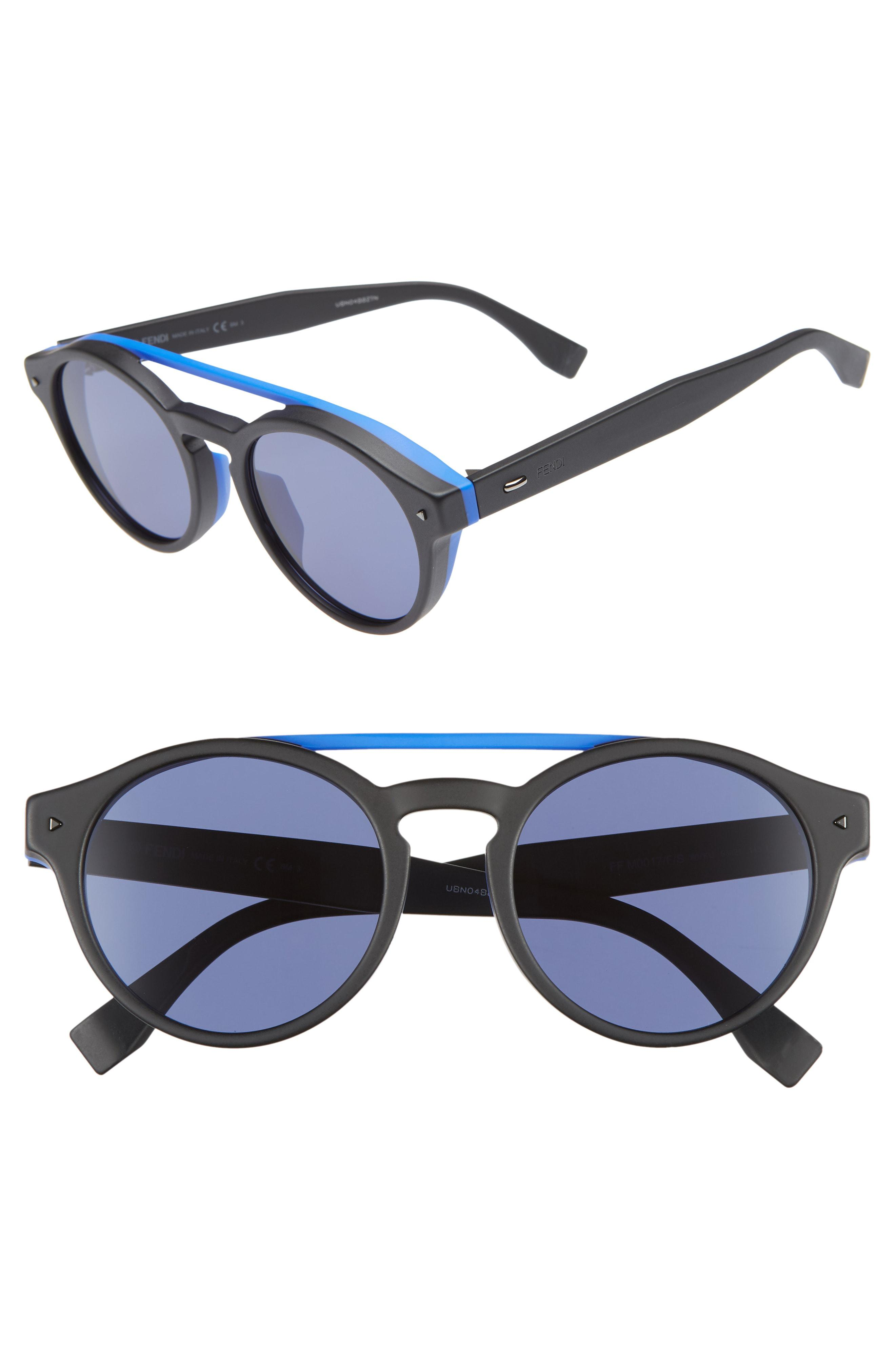 31b5f46718ec Lyst - Fendi 53mm Special Fit Round Sunglasses - in Blue for Men