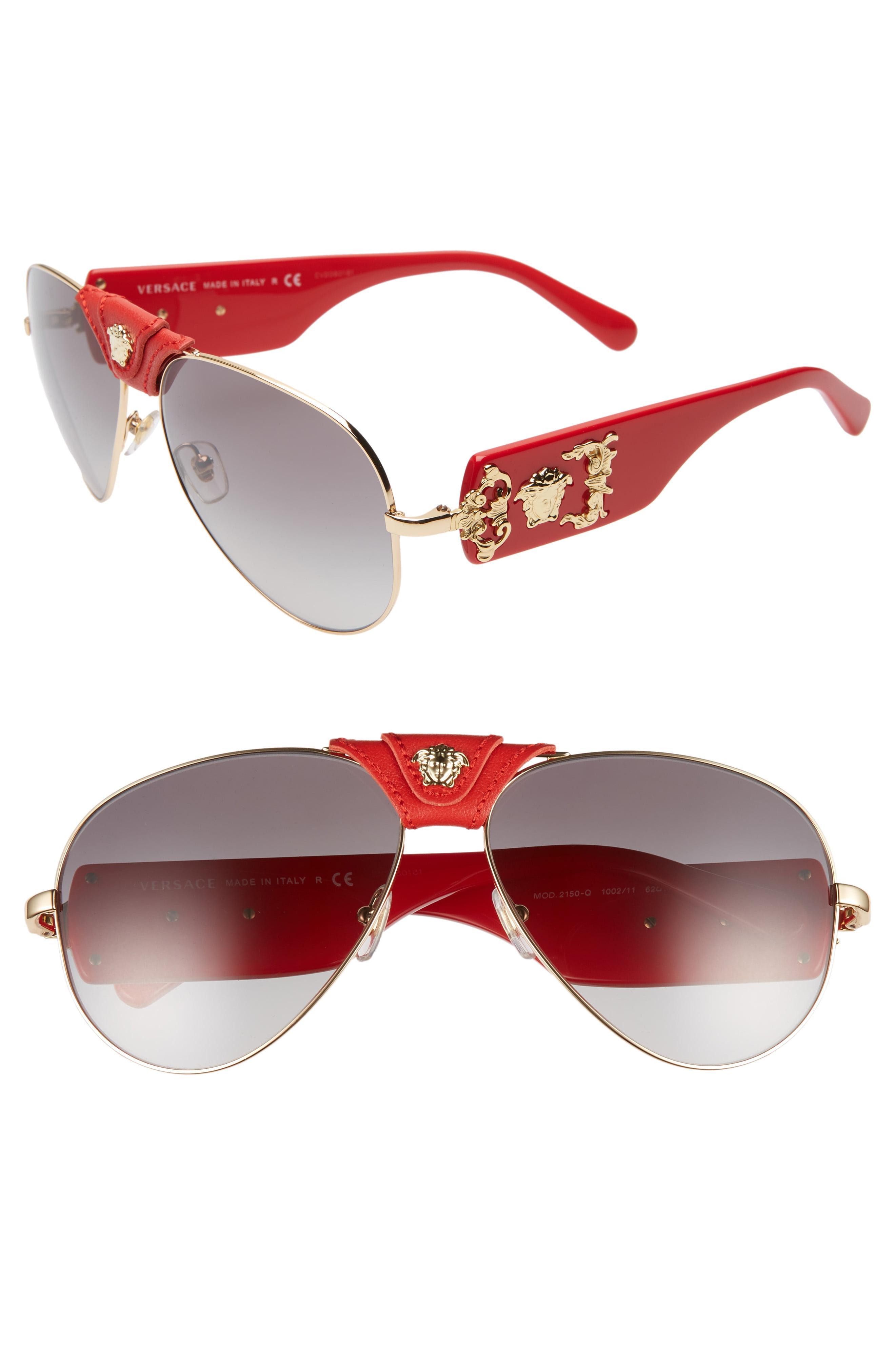 b31acd1cdea7 Lyst - Versace Medusa 62mm Aviator Sunglasses in Gray