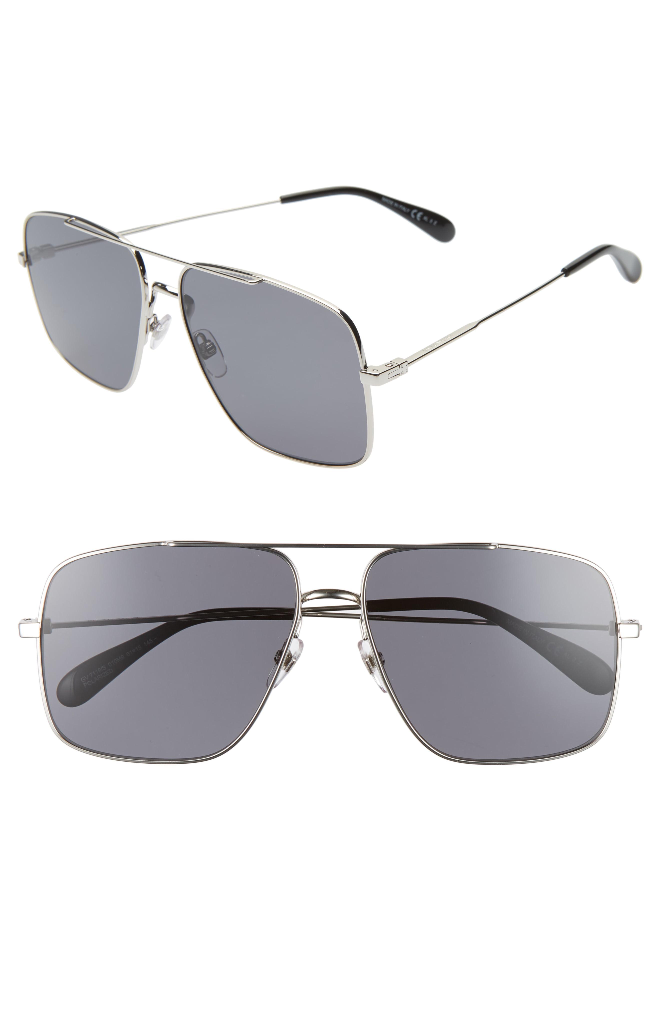 553f57430 Givenchy. Men's Metallic 61mm Polarized Square Sunglasses - Palladium
