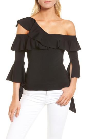 b981f94f77ce1f Lyst - Chelsea28 Cascading Ruffle One-shoulder Top in Black