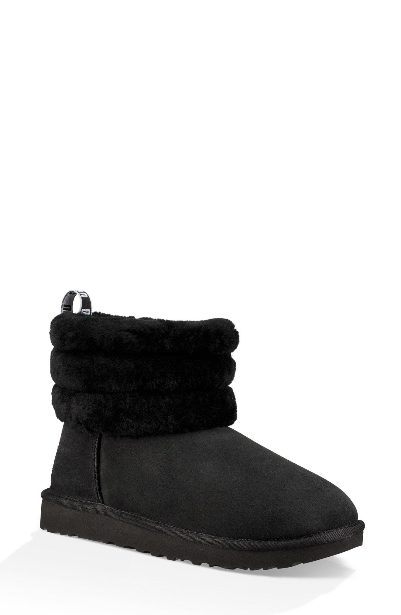 9c784b251ec Lyst - UGG Ugg Classic Mini Fluff Quilted Boot in Black