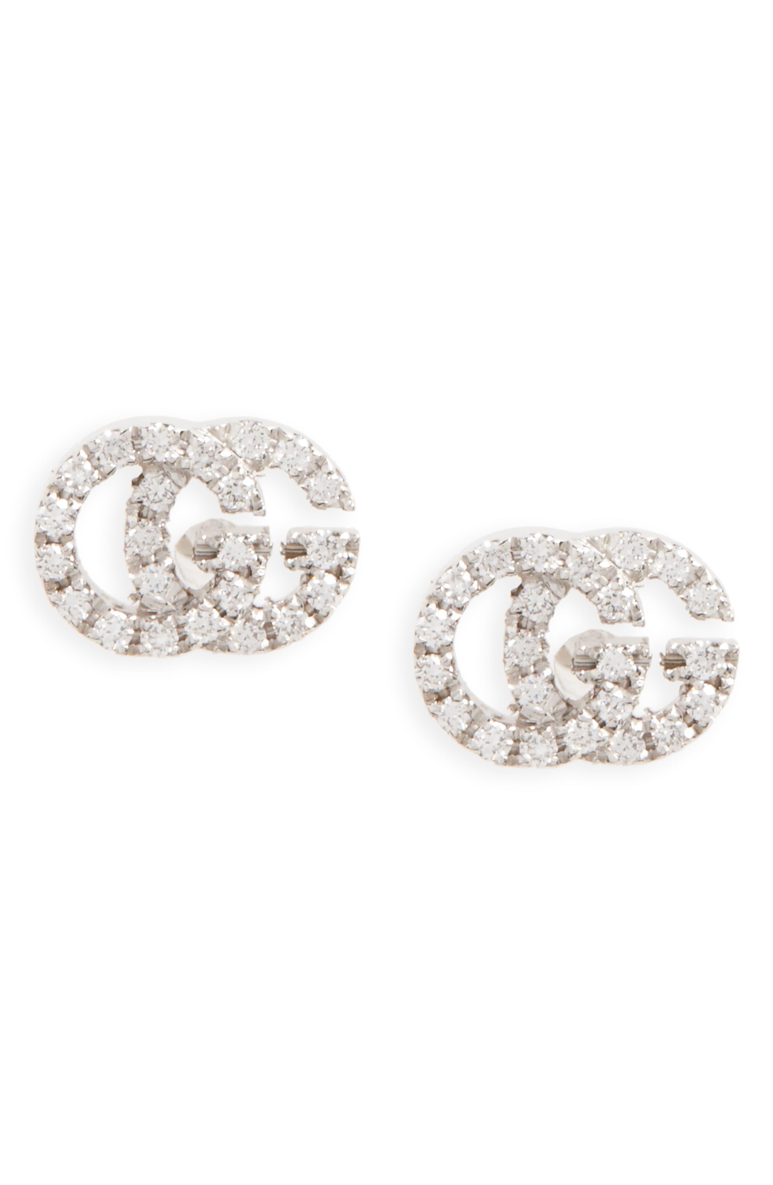 eca02410d Gucci - Metallic Double-g Diamond Stud Earrings - Lyst. View fullscreen