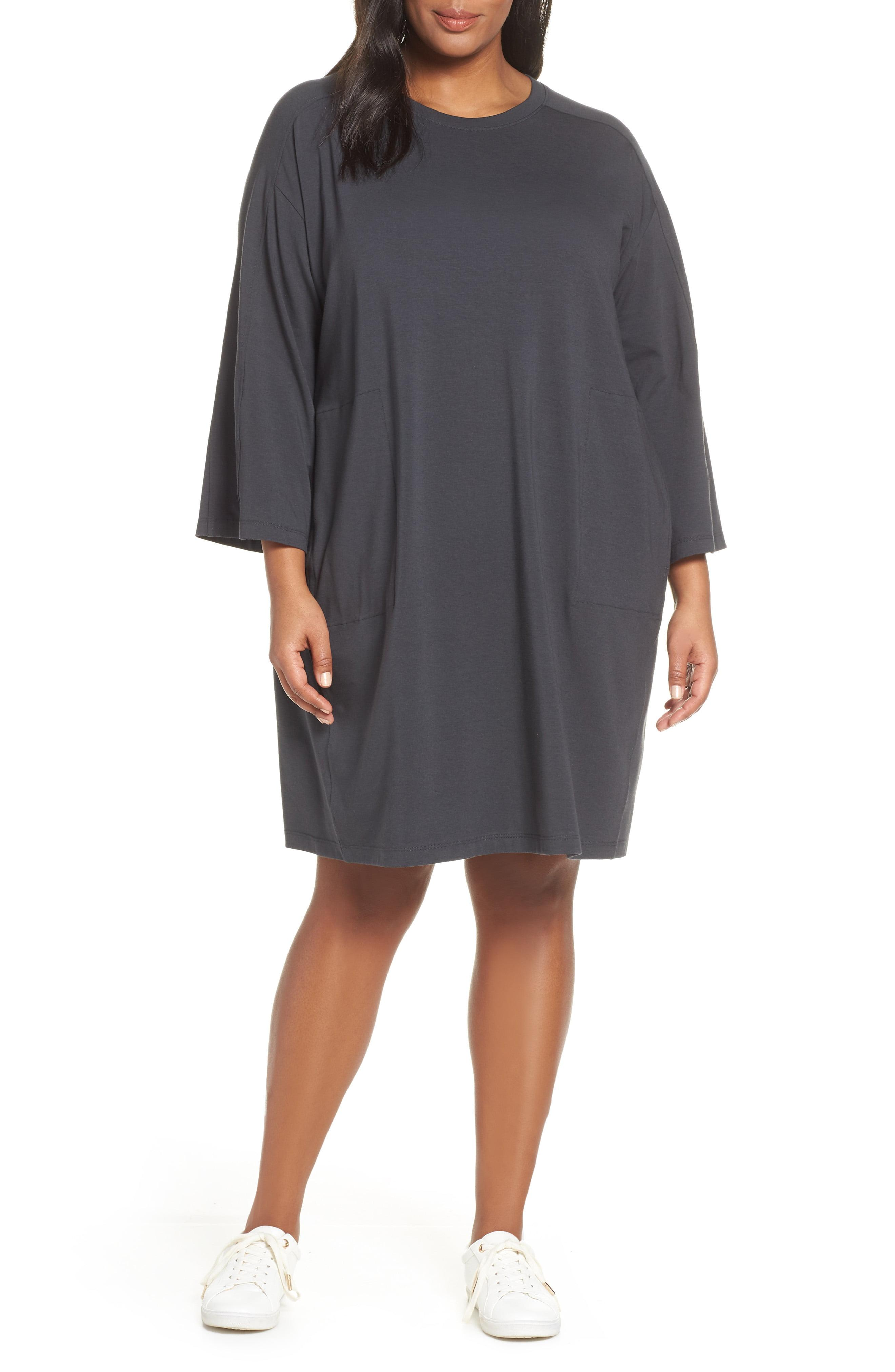 77148ac069 Lyst - Eileen Fisher Crewneck T-shirt Dress in Gray