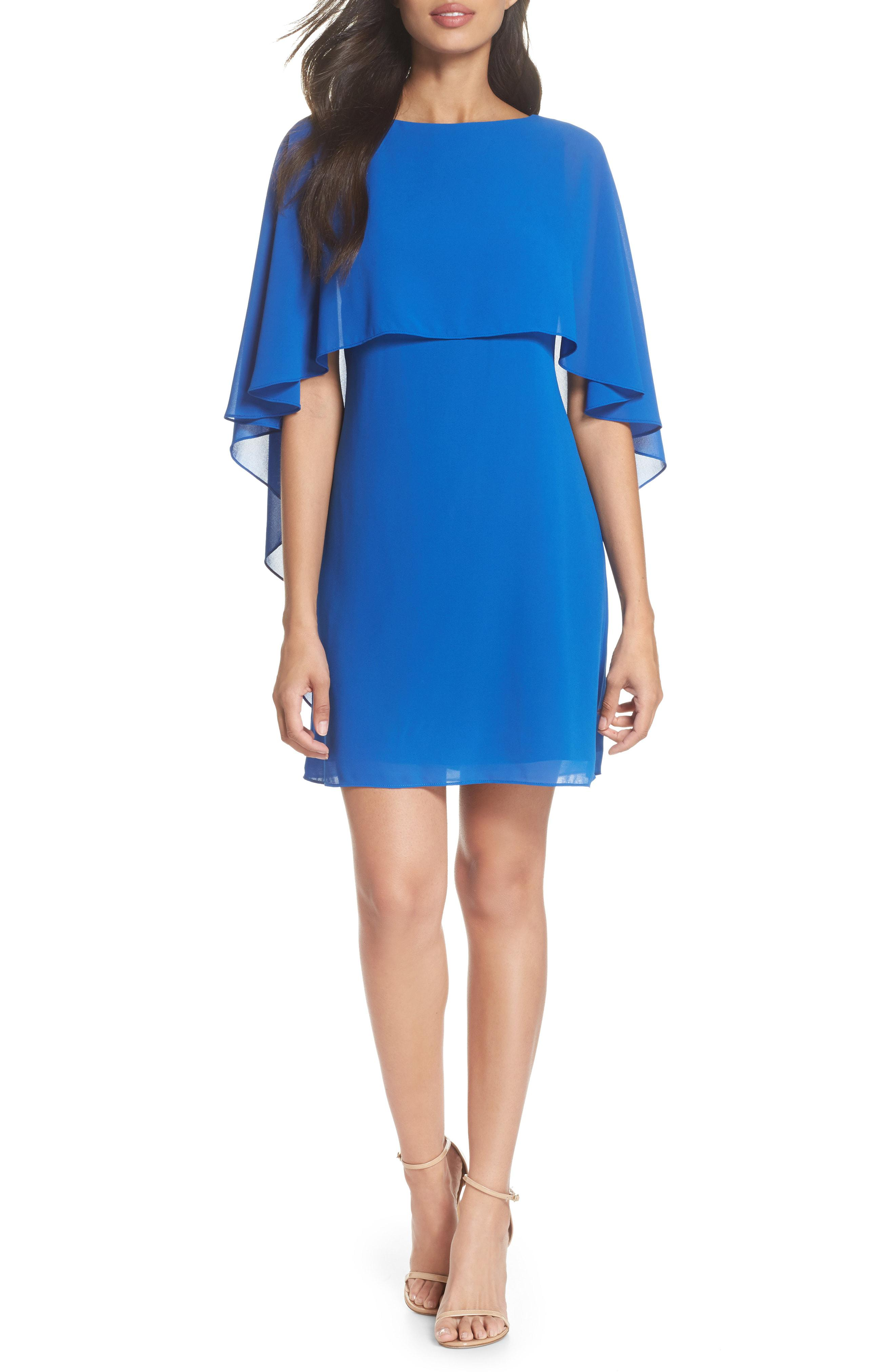 3db2c8ed9a855 Lyst - Vince Camuto Cape Overlay Dress in Blue