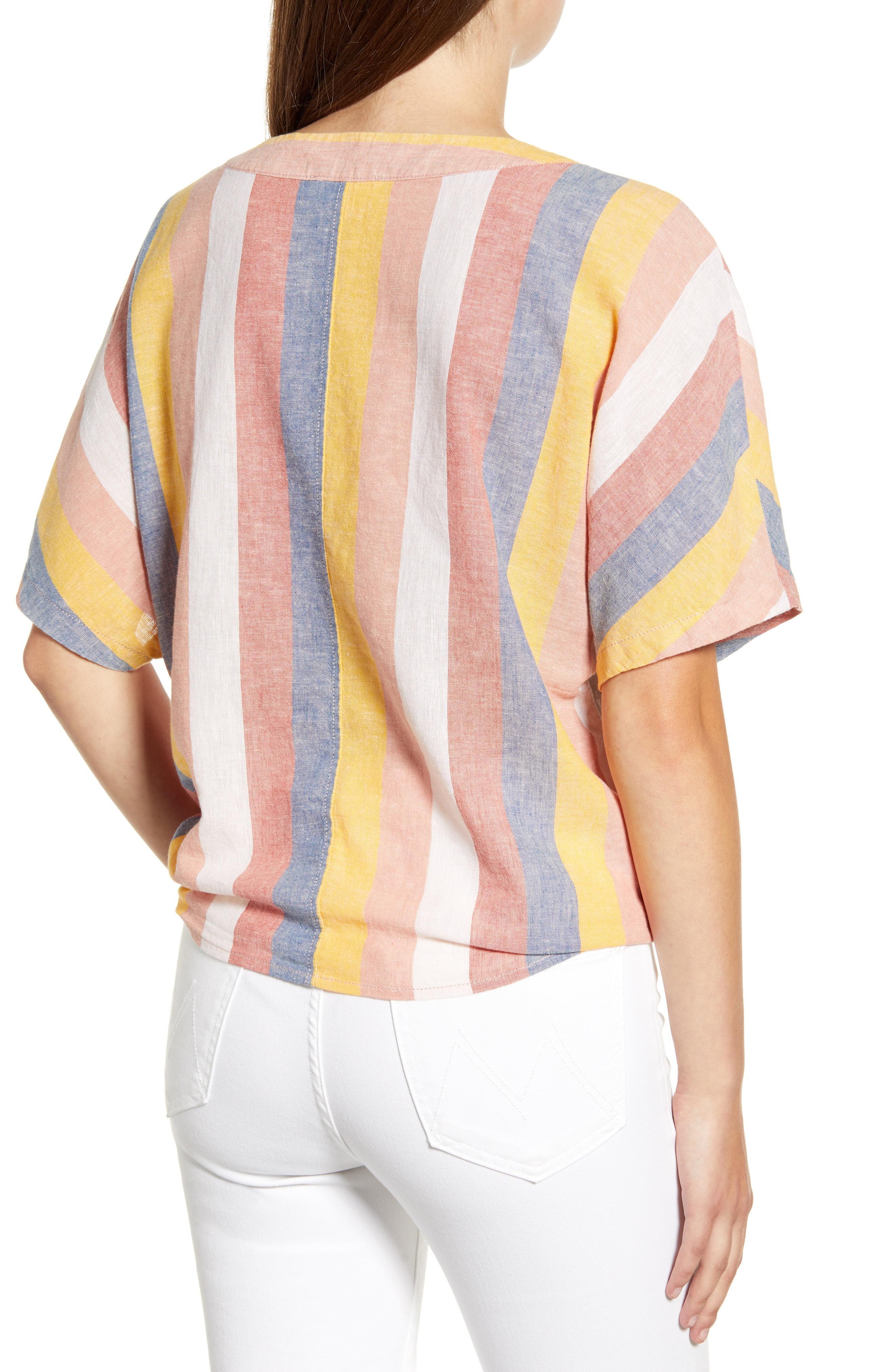 babb5e47f8 Beach Lunch Lounge - Multicolor Kelli Stripe Tie Front Linen & Cotton Blouse  - Lyst. View fullscreen