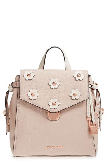 8bbce54b337c0 Lyst - Michael Kors Michael Small Flower Embellished Leather ...