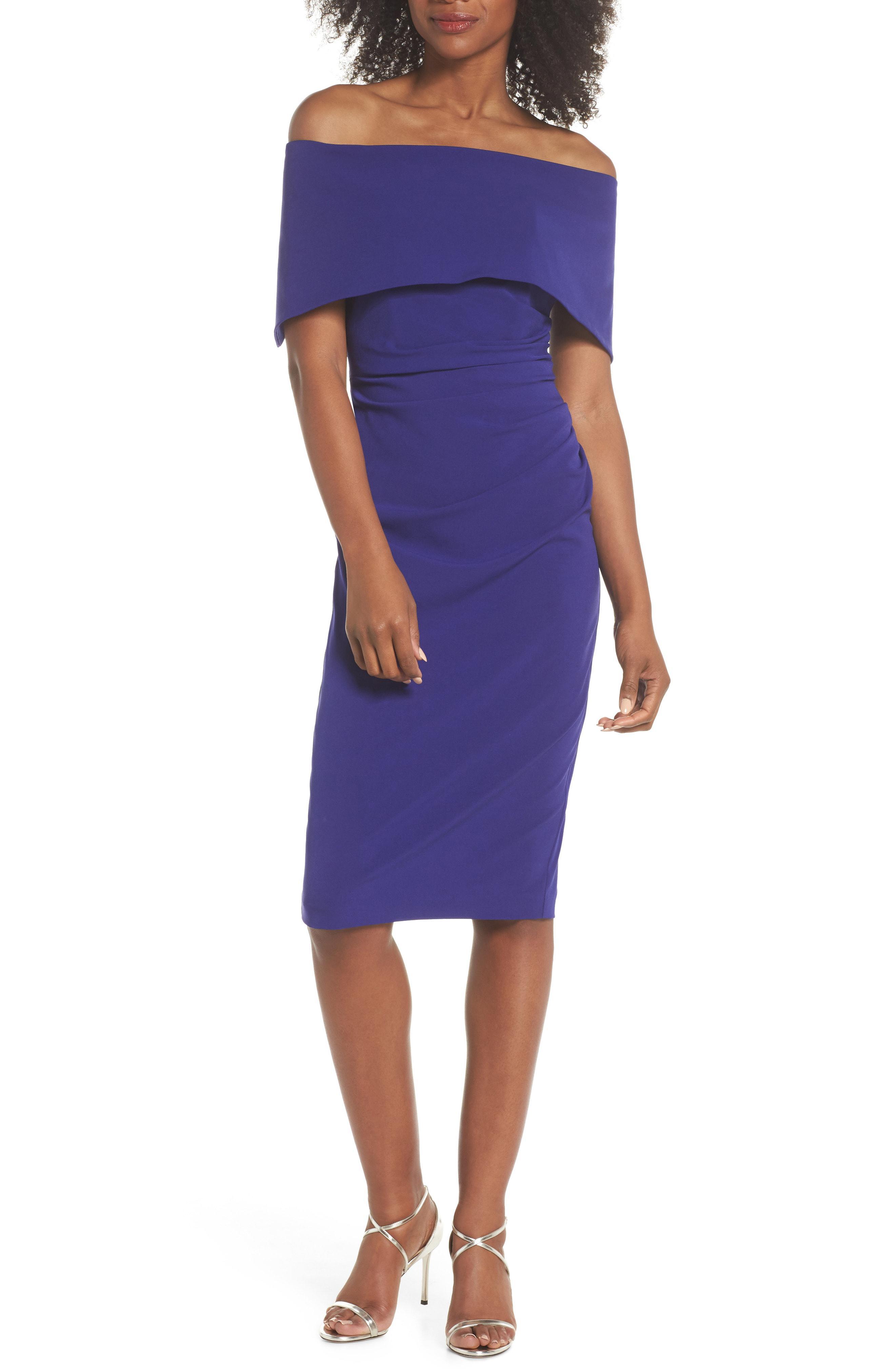 Vince Camuto Popover Midi Dress In Blue Lyst