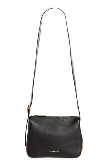 0eb871f1ee3e Lyst - Burberry Helmsley House Check Leather Crossbody Bag in Black
