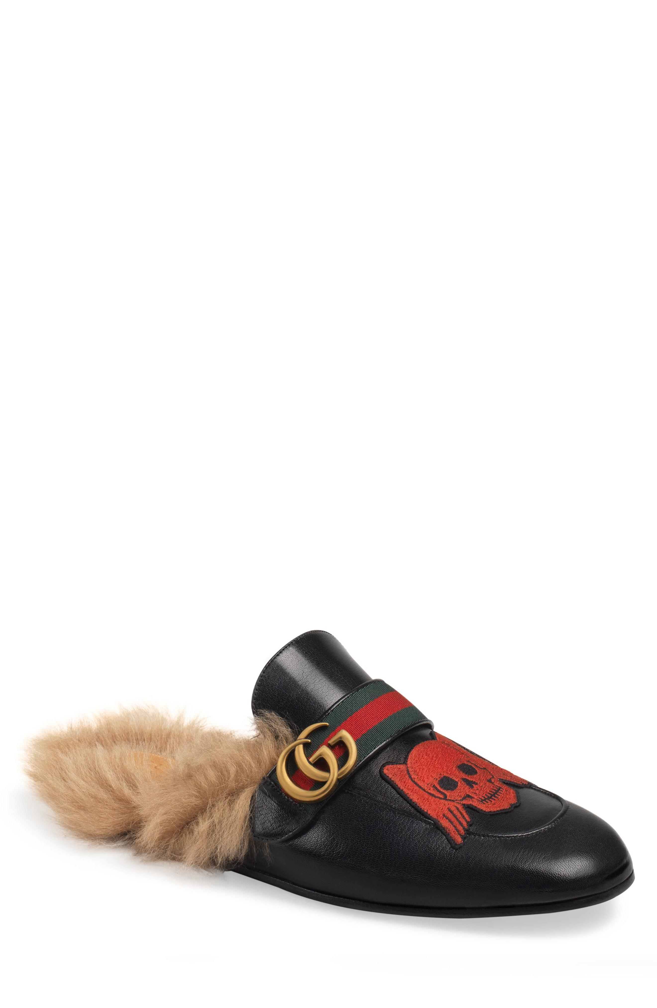 deb122b0633 Lyst - Gucci Princetown Double G Loafer Mule With Genuine Shearling ...
